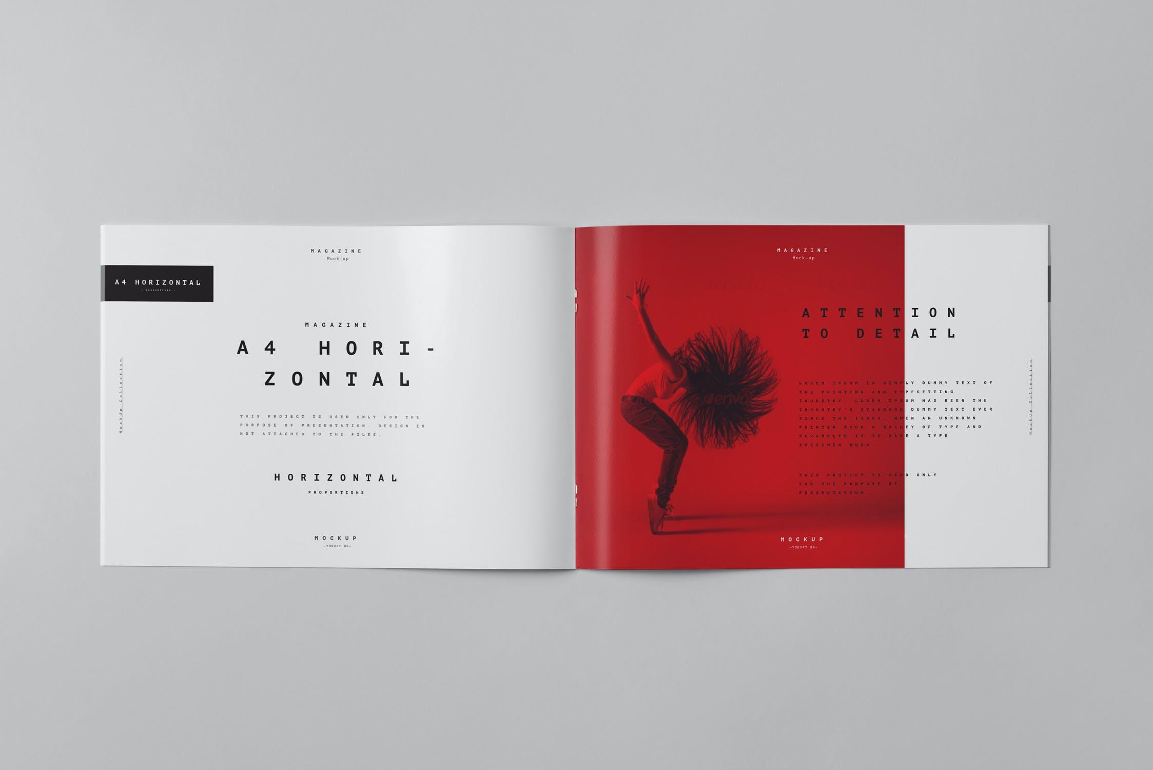 10款横版A4画册杂志设计展示样机模板 A4 Horizontal Brochure Mockup 3插图(9)