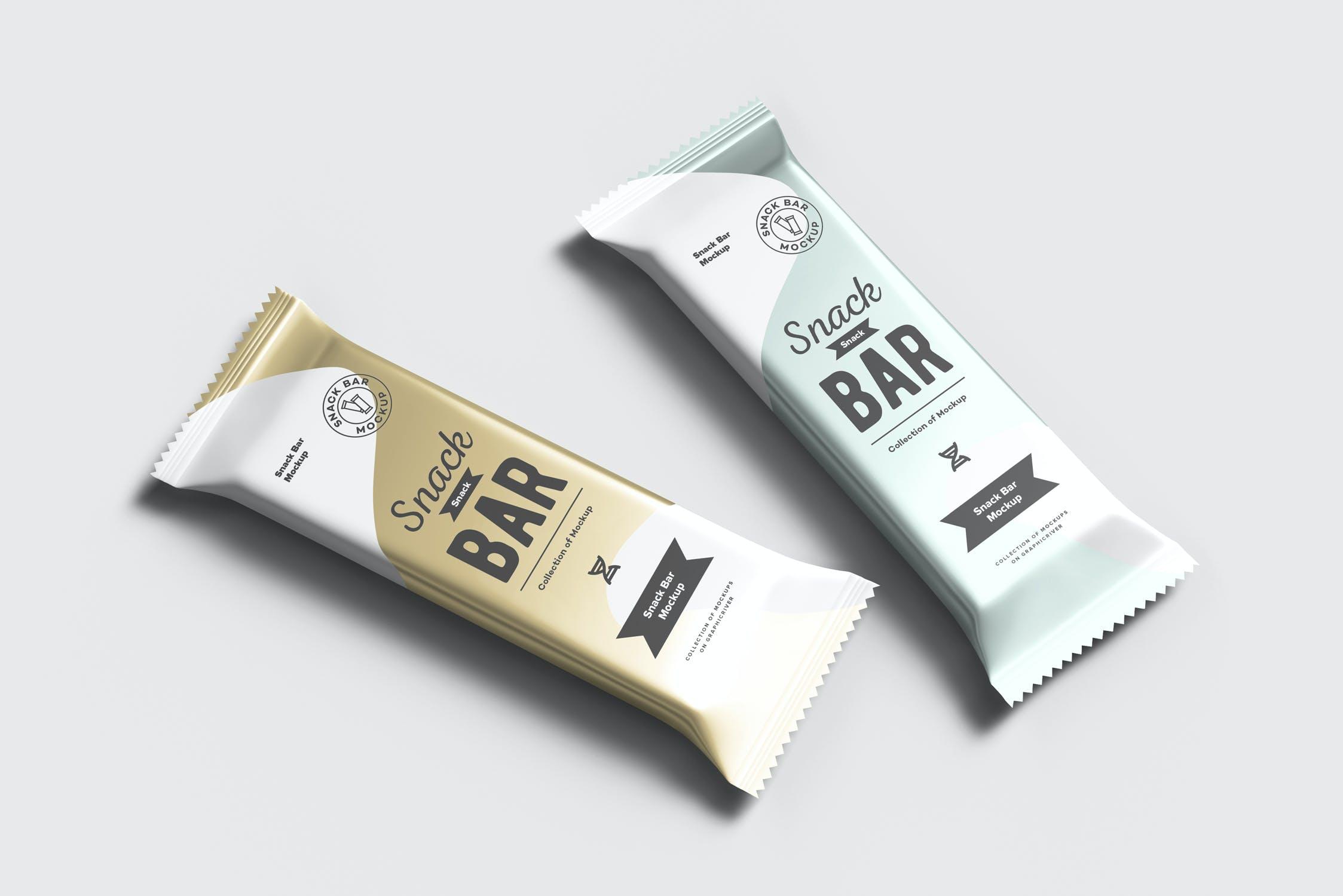 7款巧克力棒小零食塑料袋设计展示样机 Snack Bar Mockup插图(9)