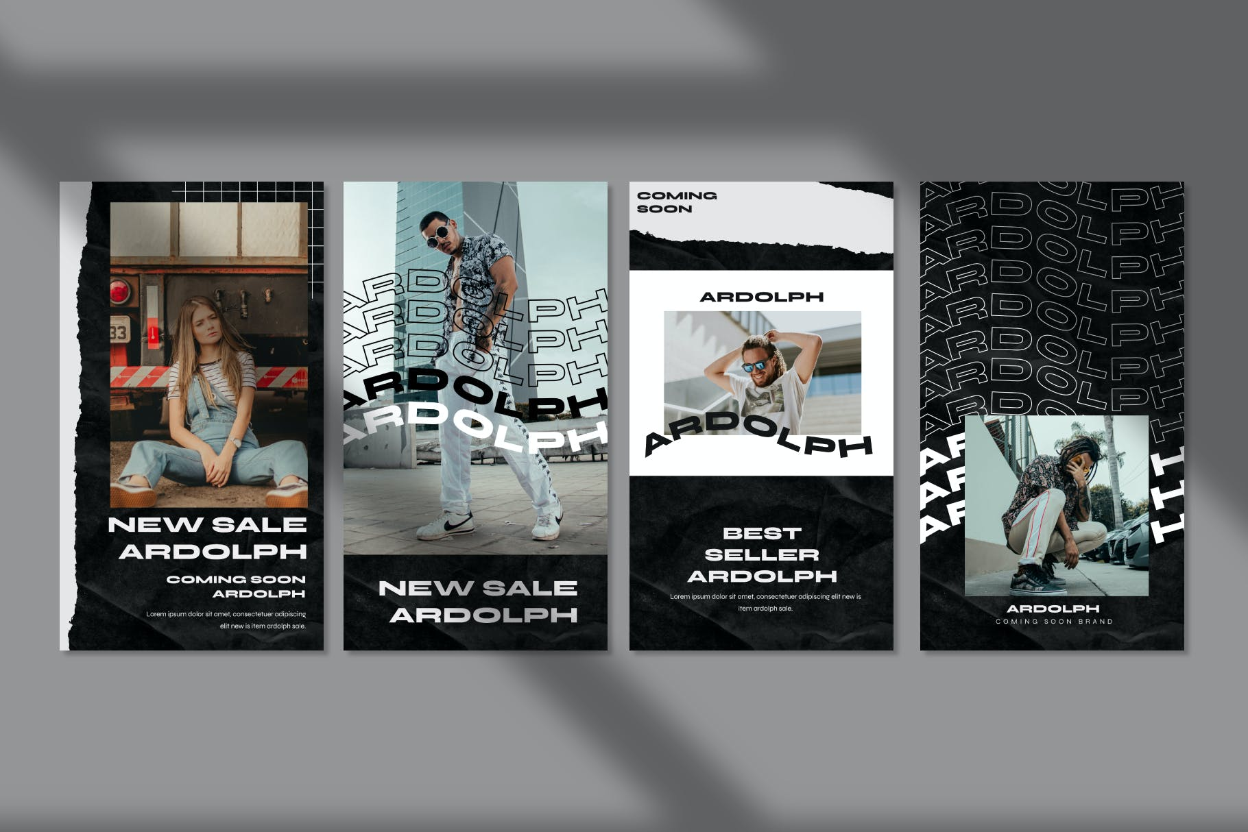 时尚撕纸效果街头潮牌品牌推广新媒体海报设计PSD模板 Ardolph – Instagram Post and Stories插图(9)
