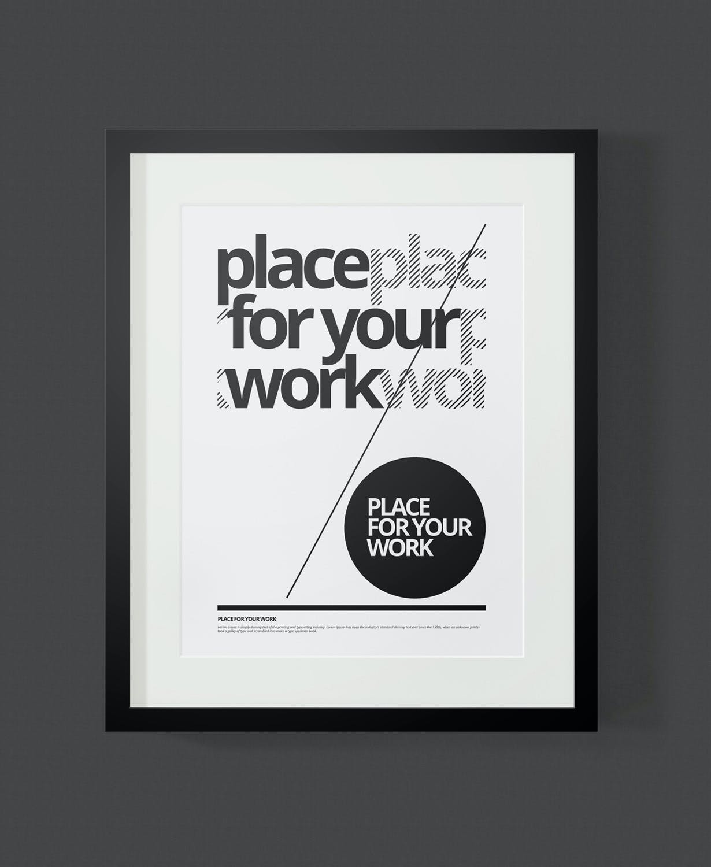 时尚绘画艺术品海报照片展示相框样机PSD模板 Frame For Your Work插图(9)