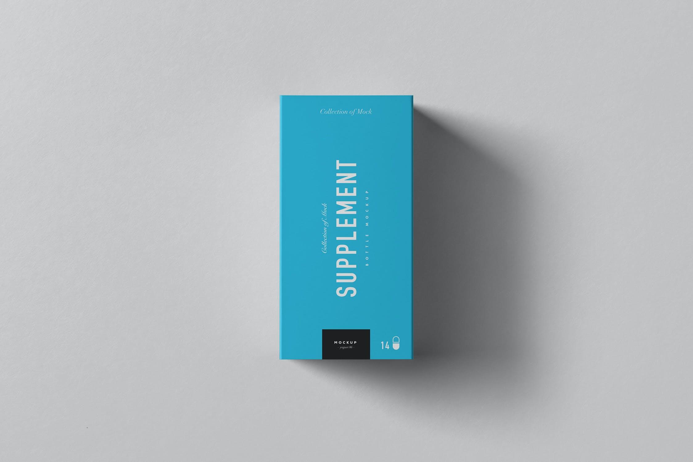 9款药物补充塑料瓶包装盒设计展示样机模板 Supplement Jar & Box Mockup 9插图(9)