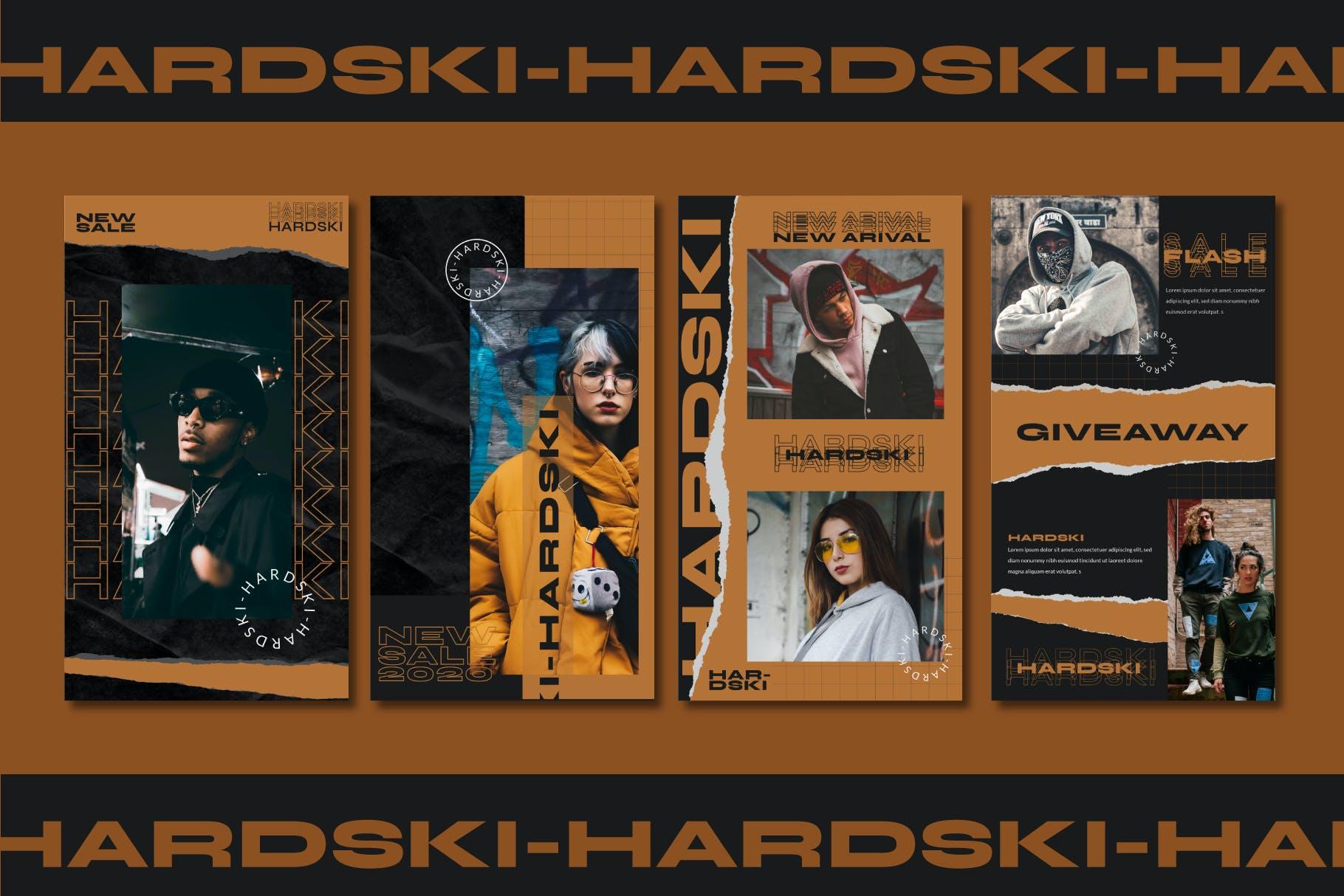 潮流街头潮牌服装推广新媒体电商海报设计PSD模板 Hardski – Instagram Post And Stories插图(9)