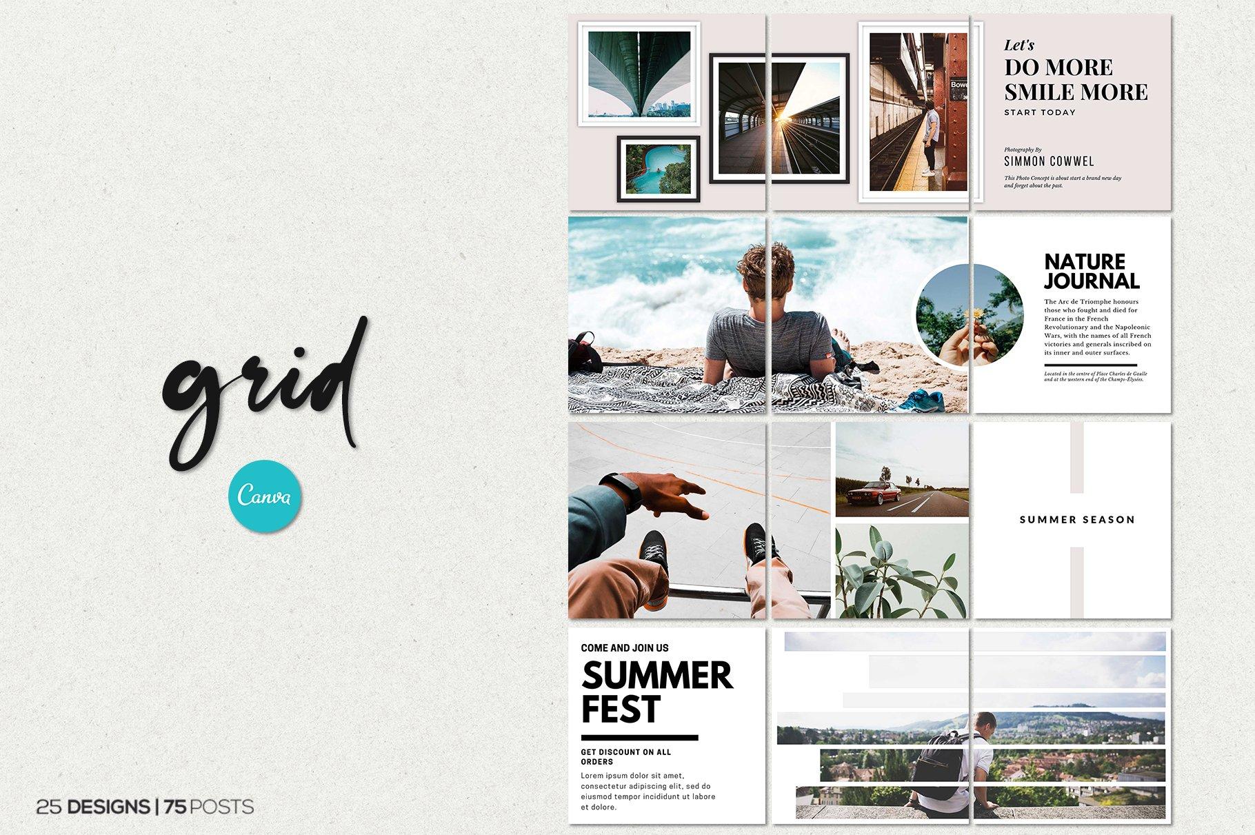 毛笔笔刷效果新媒体电商海报设计PSD模板 Agenda Insta Grid (Triple Posts)插图(9)