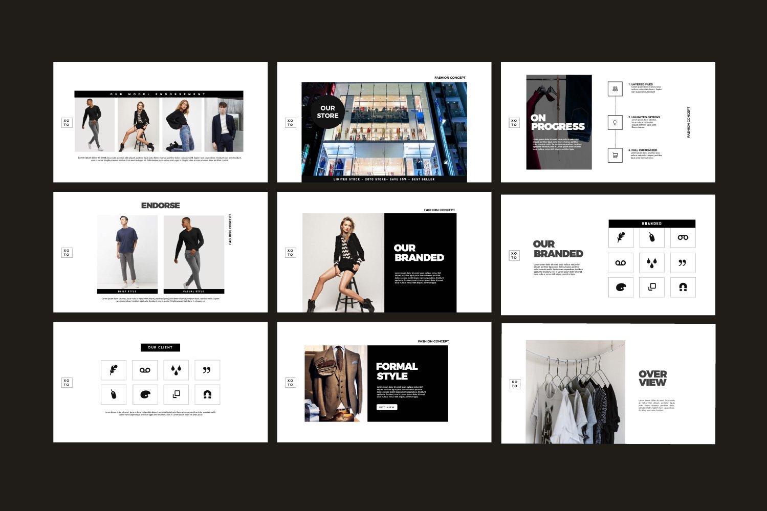 时尚简约服装设计作品集演示文稿模板 Xoto – Fashion Minimal Powerpoint插图(8)