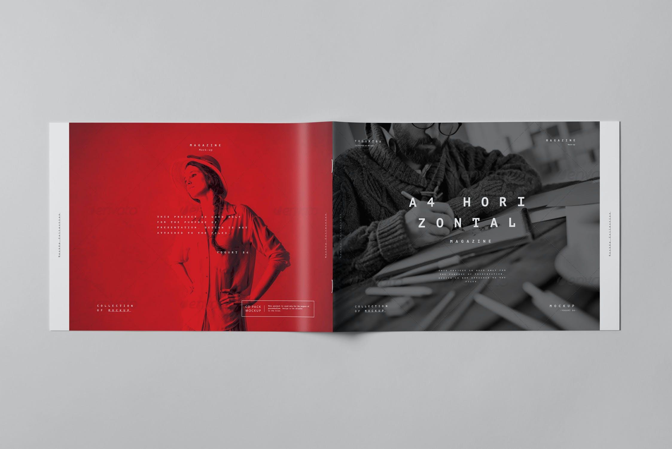 10款横版A4画册杂志设计展示样机模板 A4 Horizontal Brochure Mockup 3插图(10)