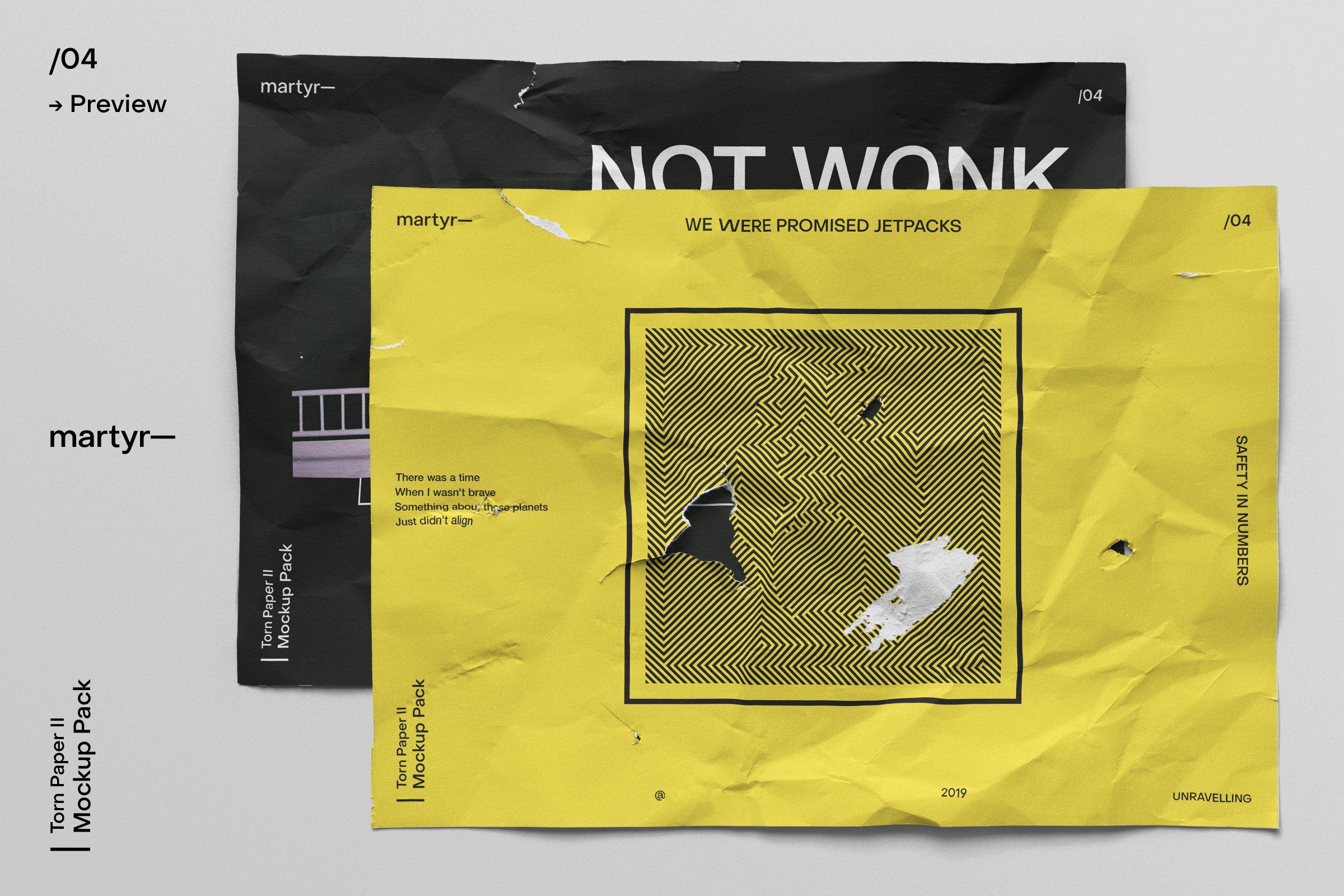 [淘宝购买]32款潮流破损撕裂褶皱A4纸张海报传单设计样机模板 Torn Paper II — Mockup Pack插图(10)