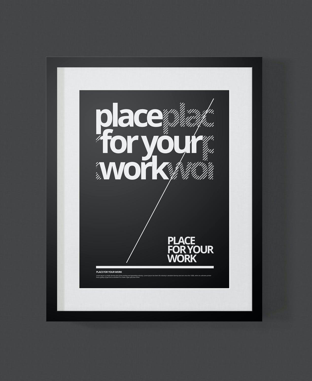 时尚绘画艺术品海报照片展示相框样机PSD模板 Frame For Your Work插图(10)
