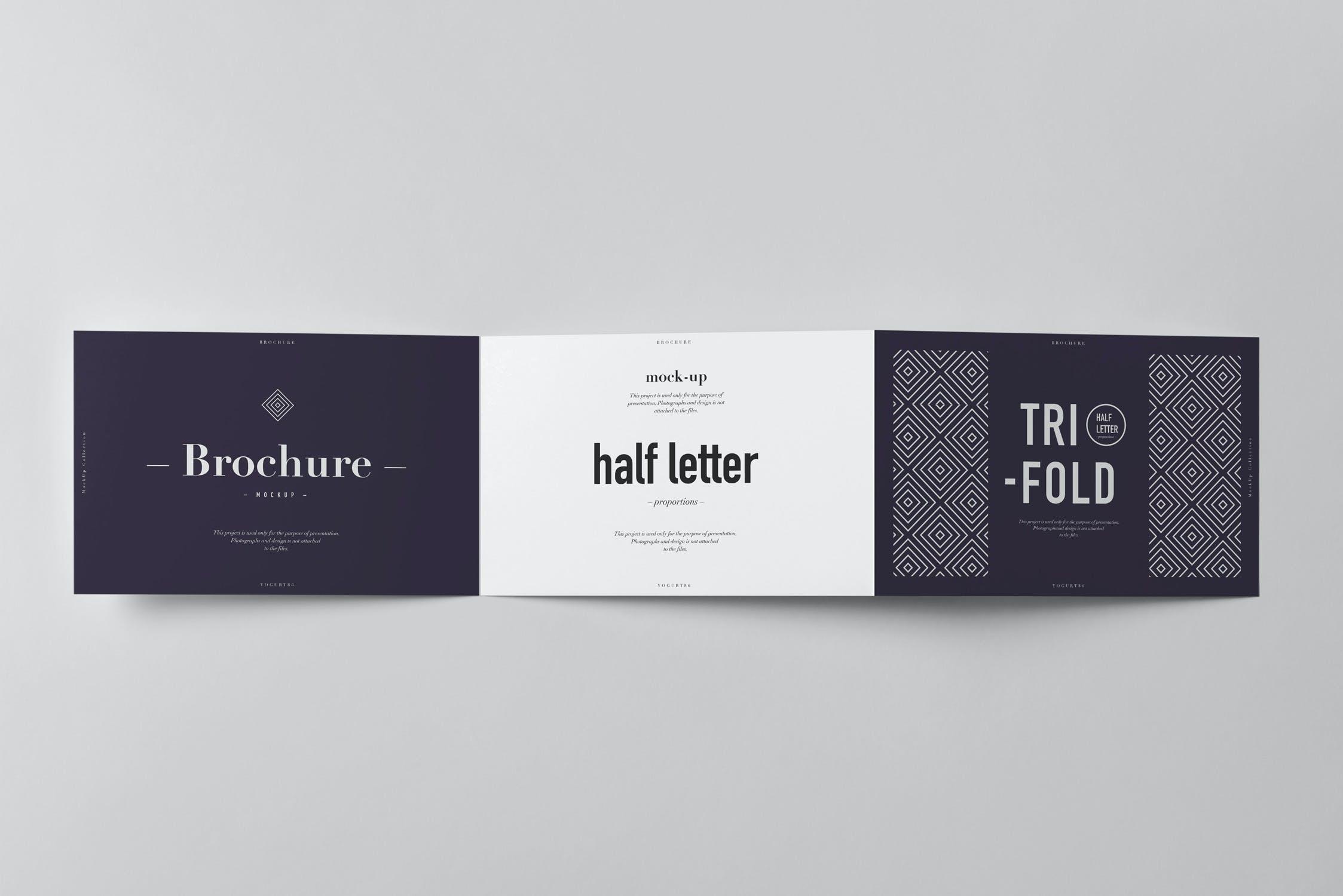 9款横版三折页小册子设计展示样机模板 Tri-Fold Half Letter Horizontal Brochure Mockup插图(10)