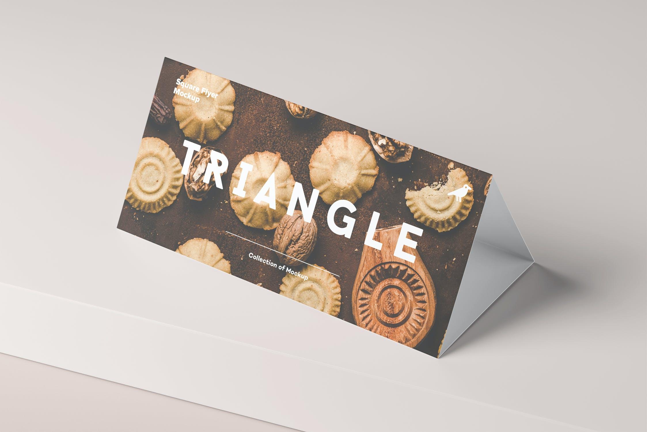 多角度三角形传单海报桌牌设计展示PSD样机模板 Triangle DL Brochure Stand Mockup插图(10)