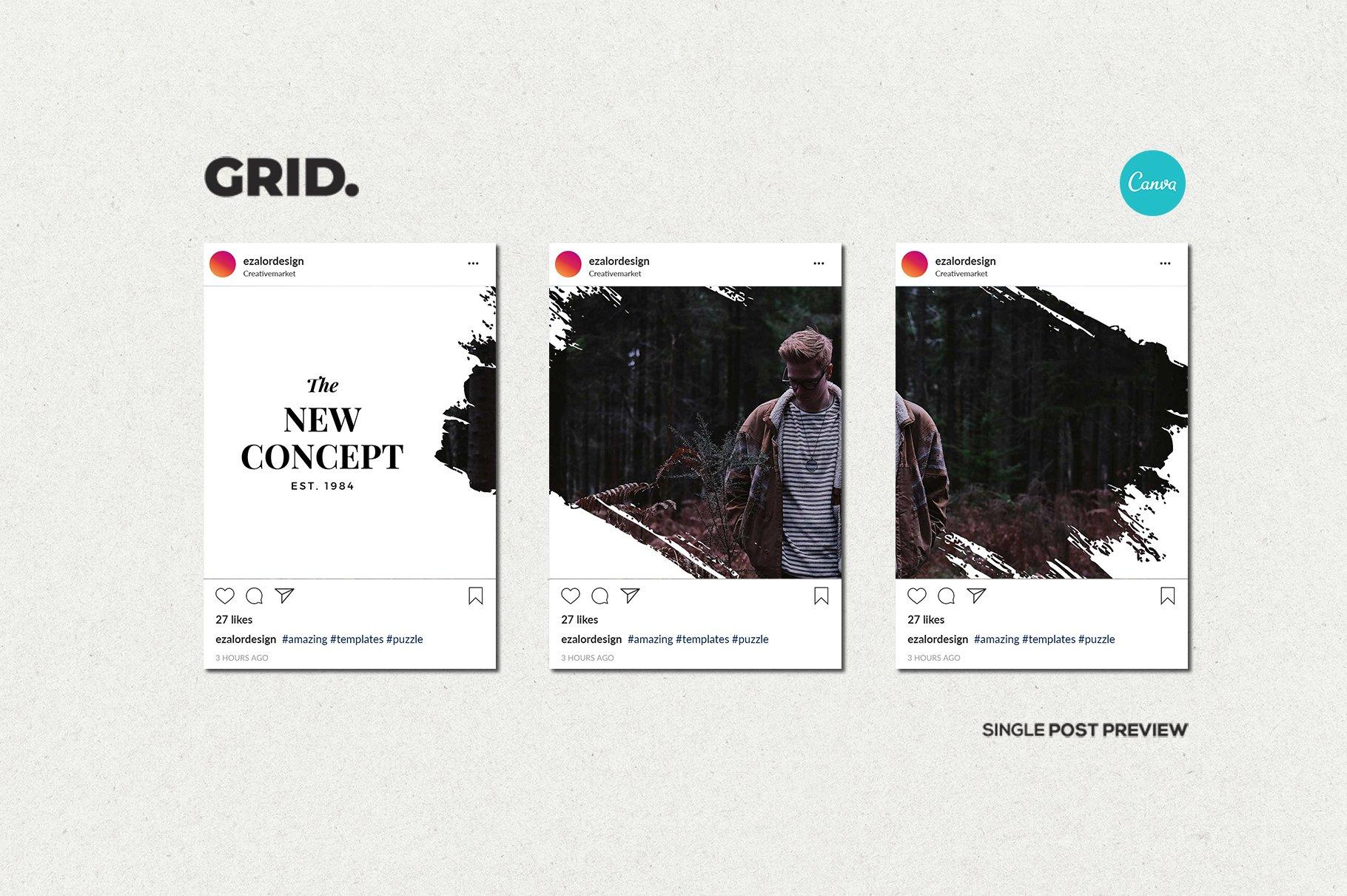 毛笔笔刷效果新媒体电商海报设计PSD模板 Agenda Insta Grid (Triple Posts)插图(10)