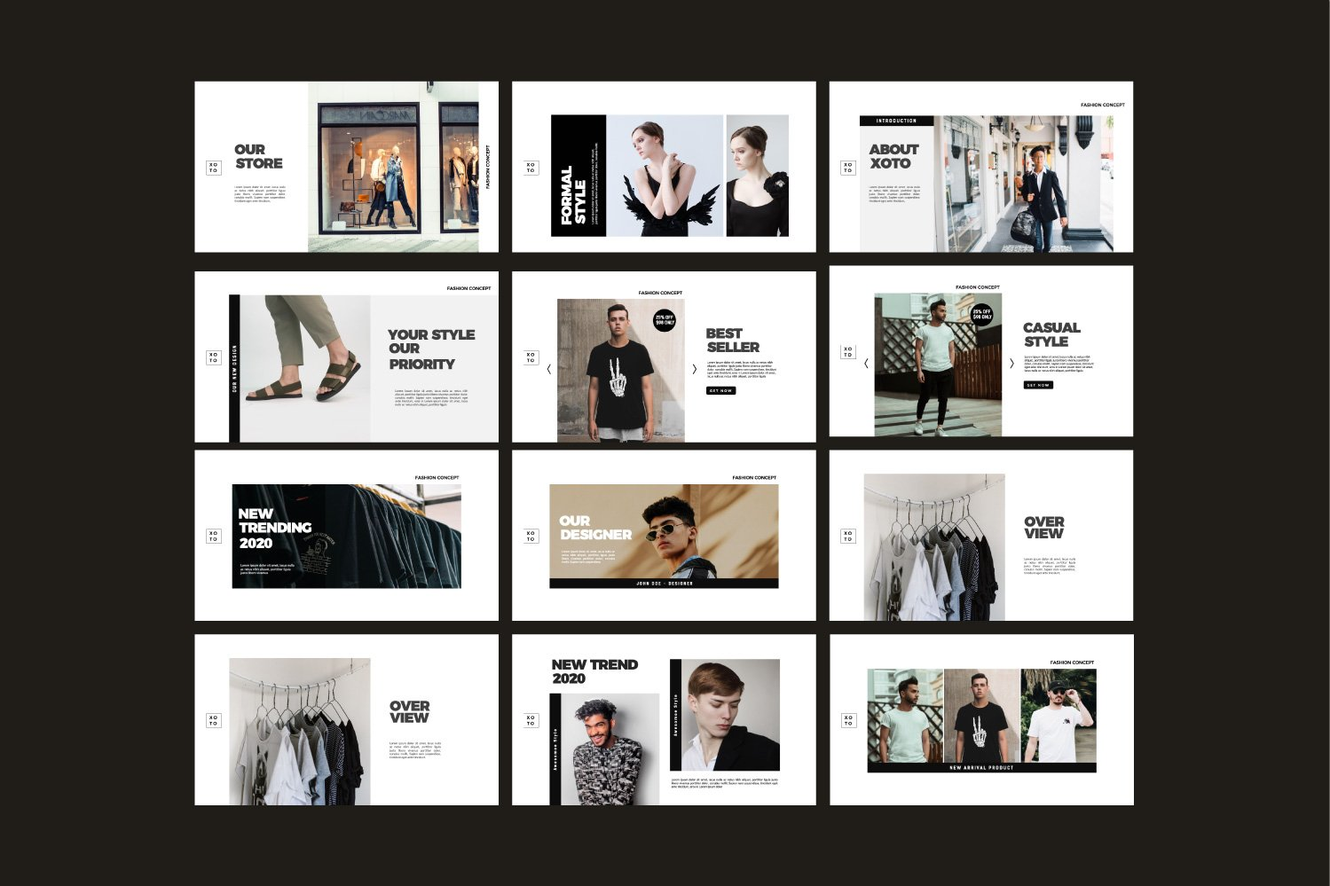 时尚简约服装设计作品集演示文稿模板 Xoto – Fashion Minimal Powerpoint插图(9)
