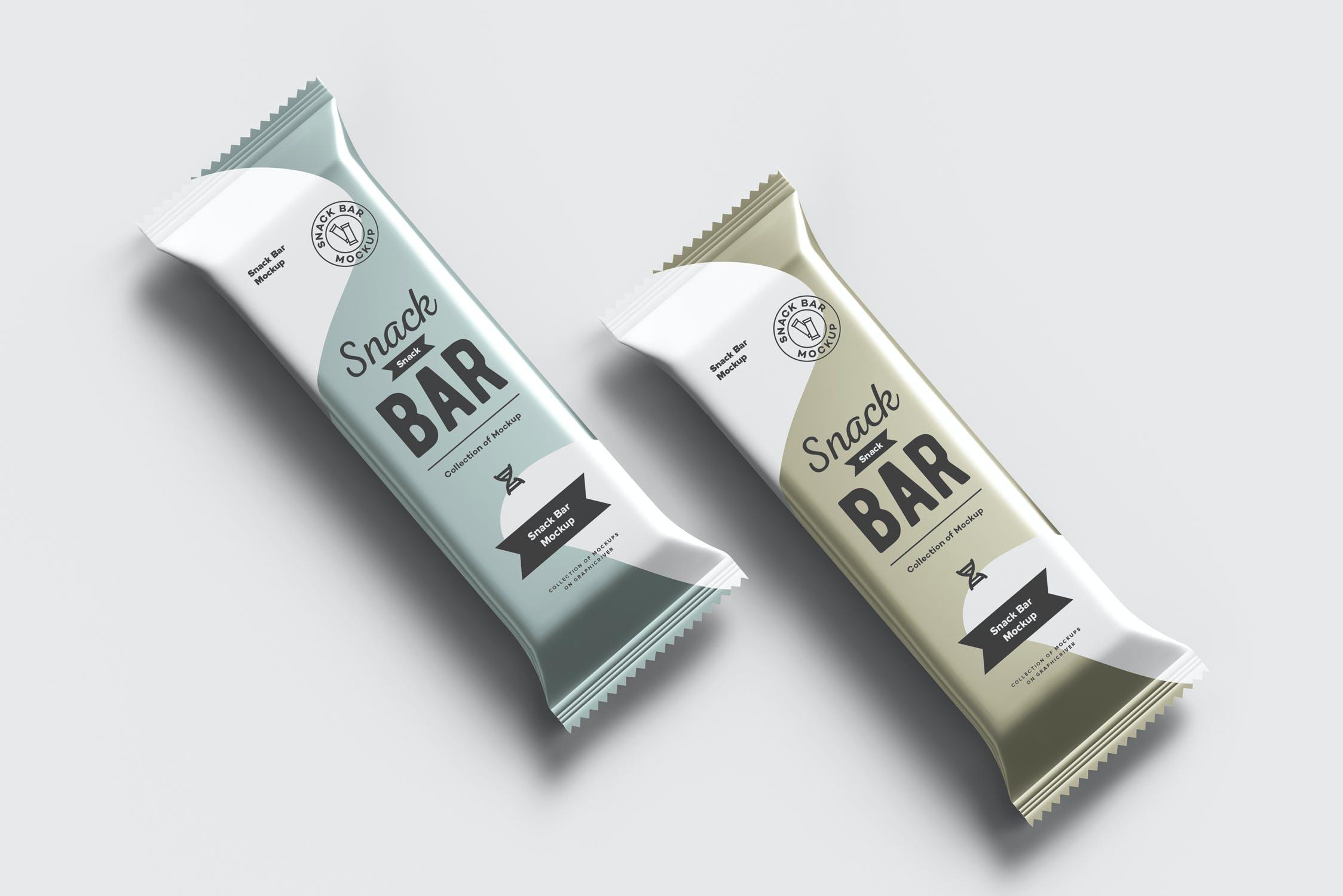 7款巧克力棒小零食塑料袋设计展示样机 Snack Bar Mockup插图(11)