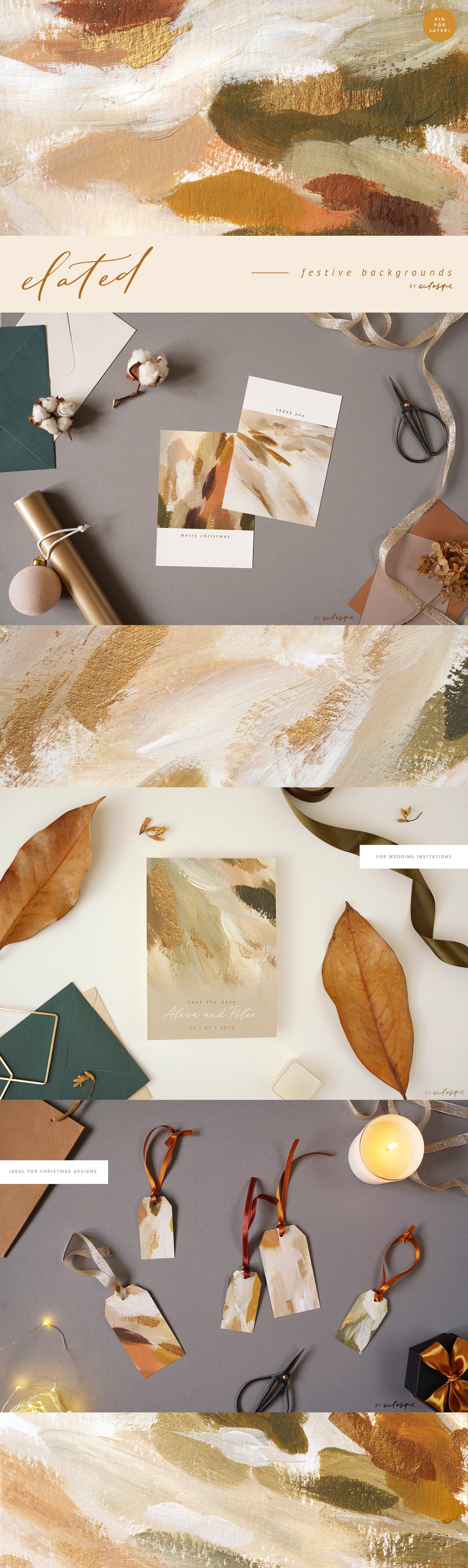 [淘宝购买] 90款新潮抽象轻奢金漆笔触装饰图案纹理背景图片素材 Elated Abstract Painted Backgrounds插图(11)
