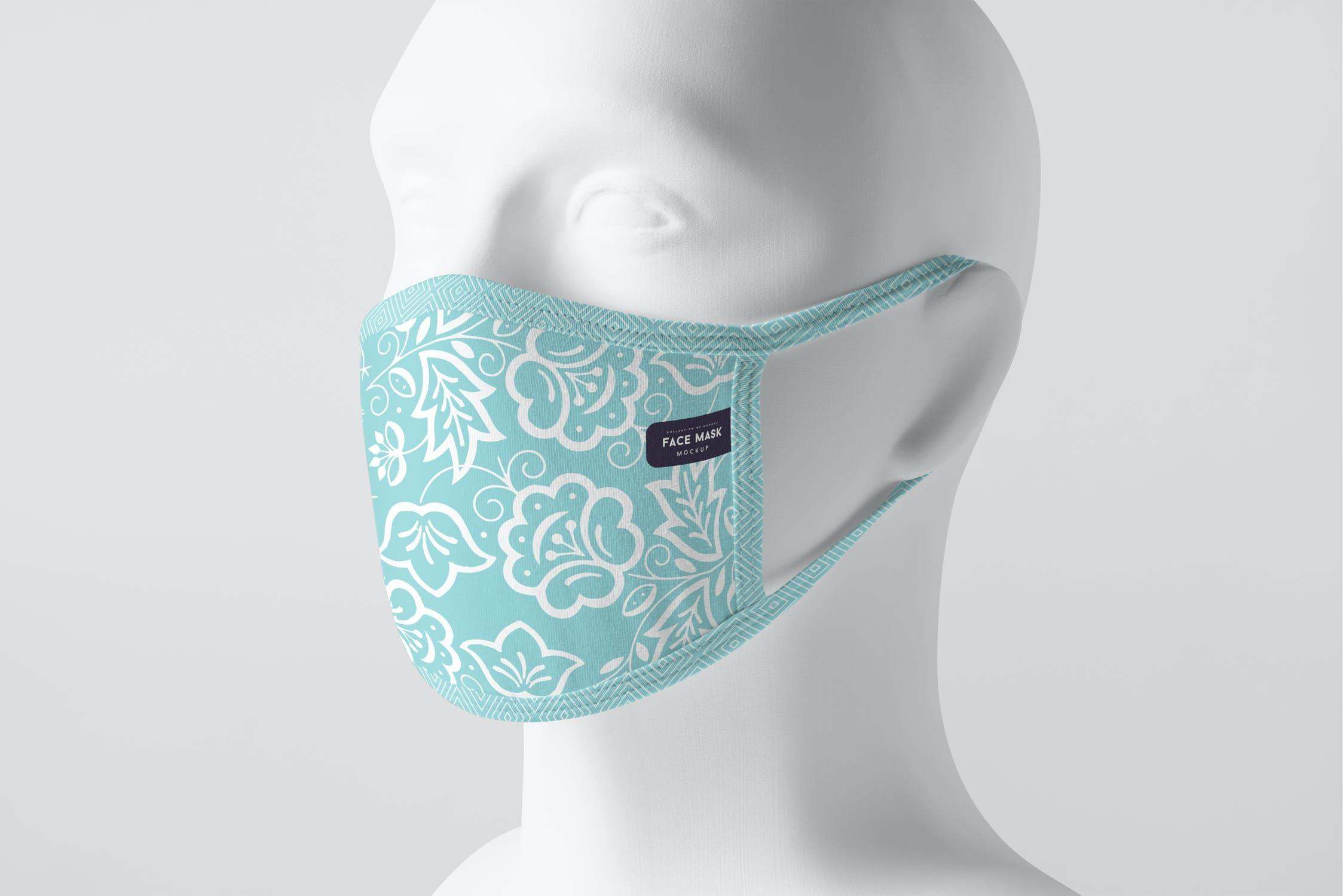 8款防护面罩口罩印花设计展示样机PSD模板 Face Mask Mockup插图(11)