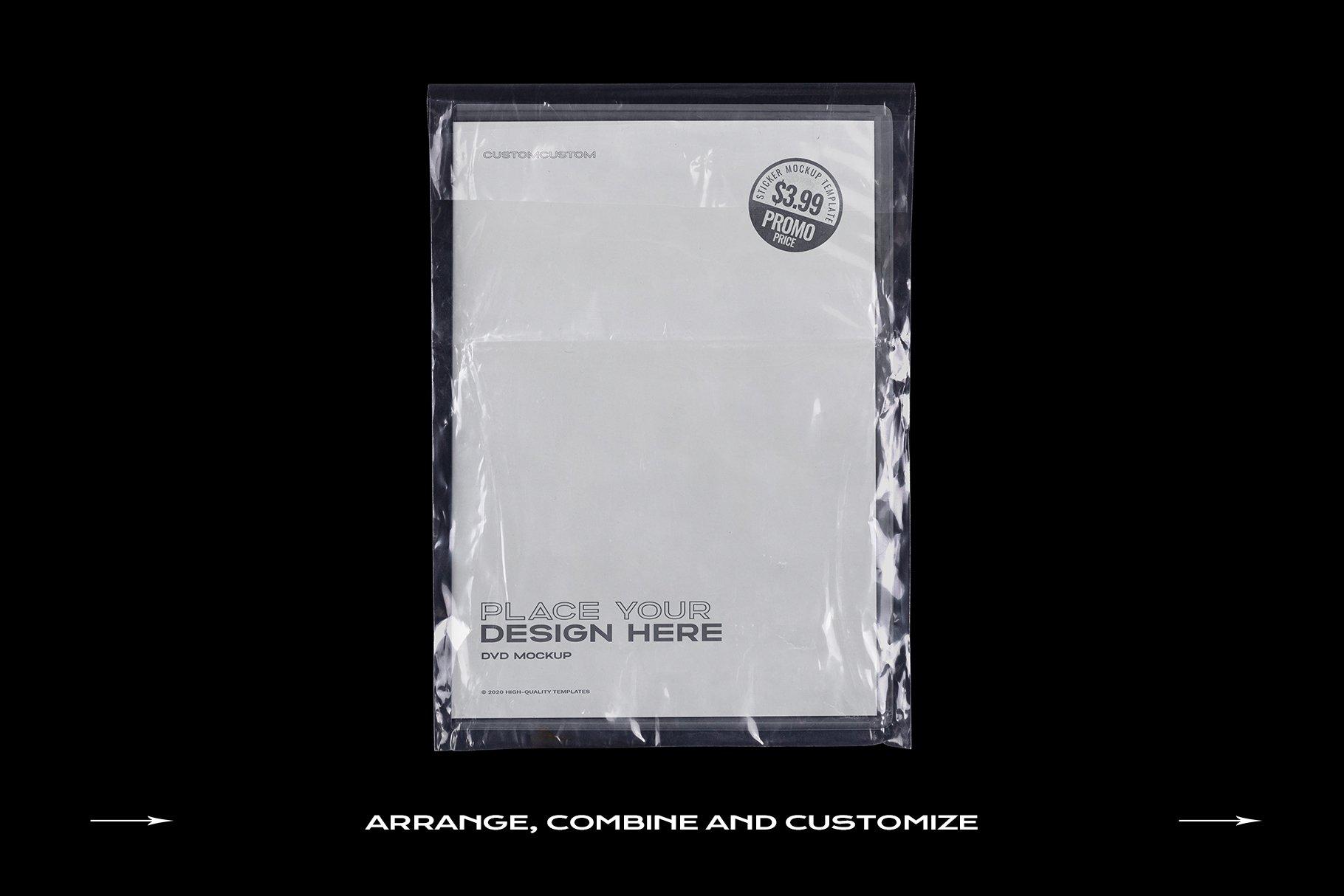 [淘宝购买] 60个DVD光盘包装盒塑料袋塑料膜贴纸样机PS设计素材 DVD Case Mockup Template Bundle Disc插图(13)