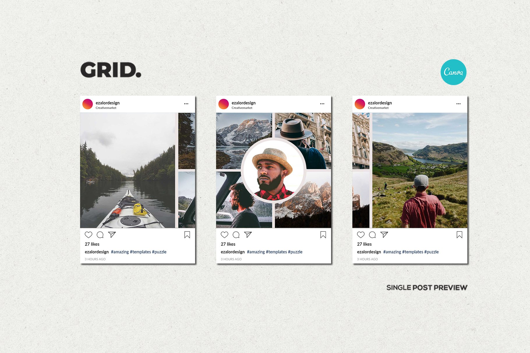 毛笔笔刷效果新媒体电商海报设计PSD模板 Agenda Insta Grid (Triple Posts)插图(11)