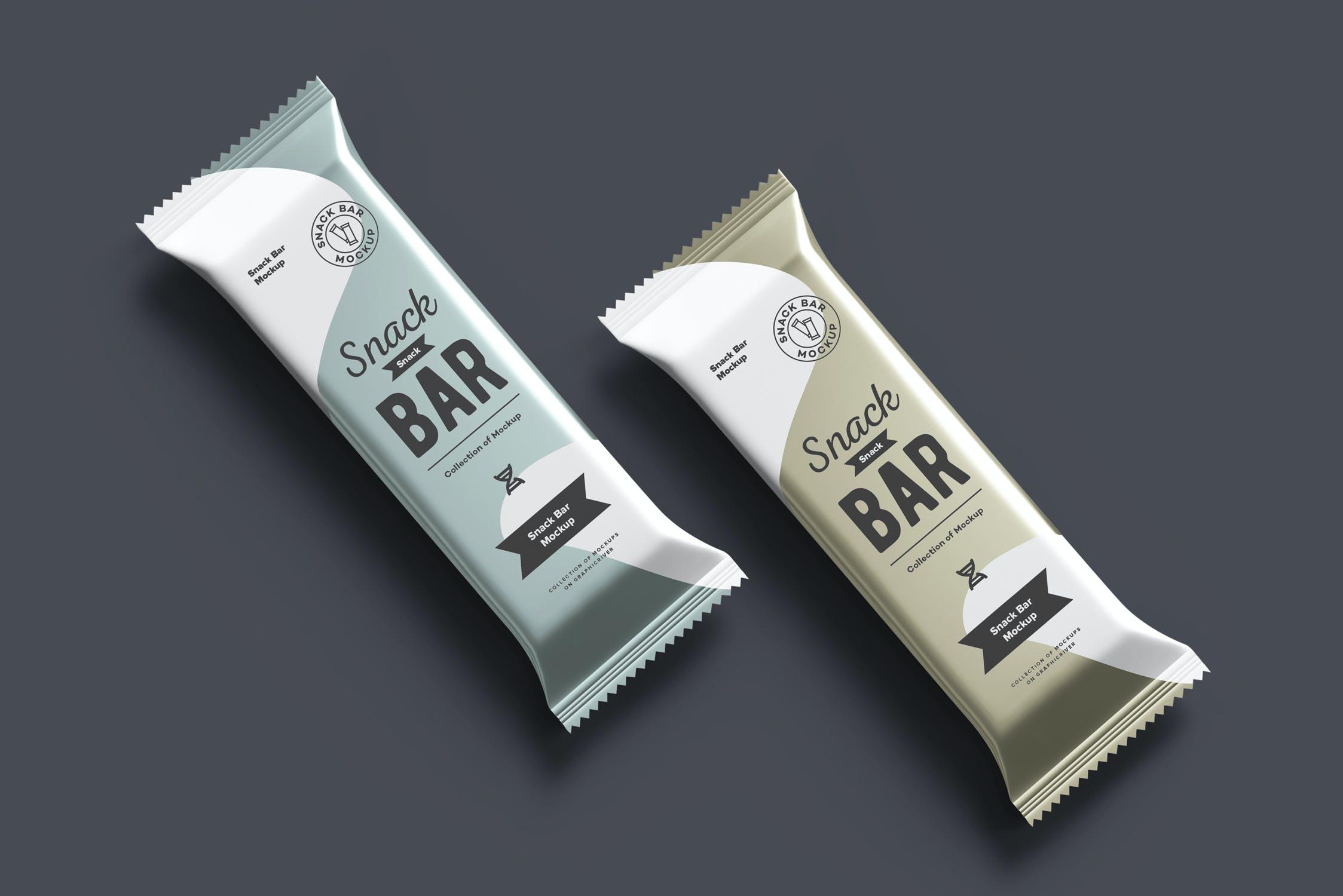 7款巧克力棒小零食塑料袋设计展示样机 Snack Bar Mockup插图(12)