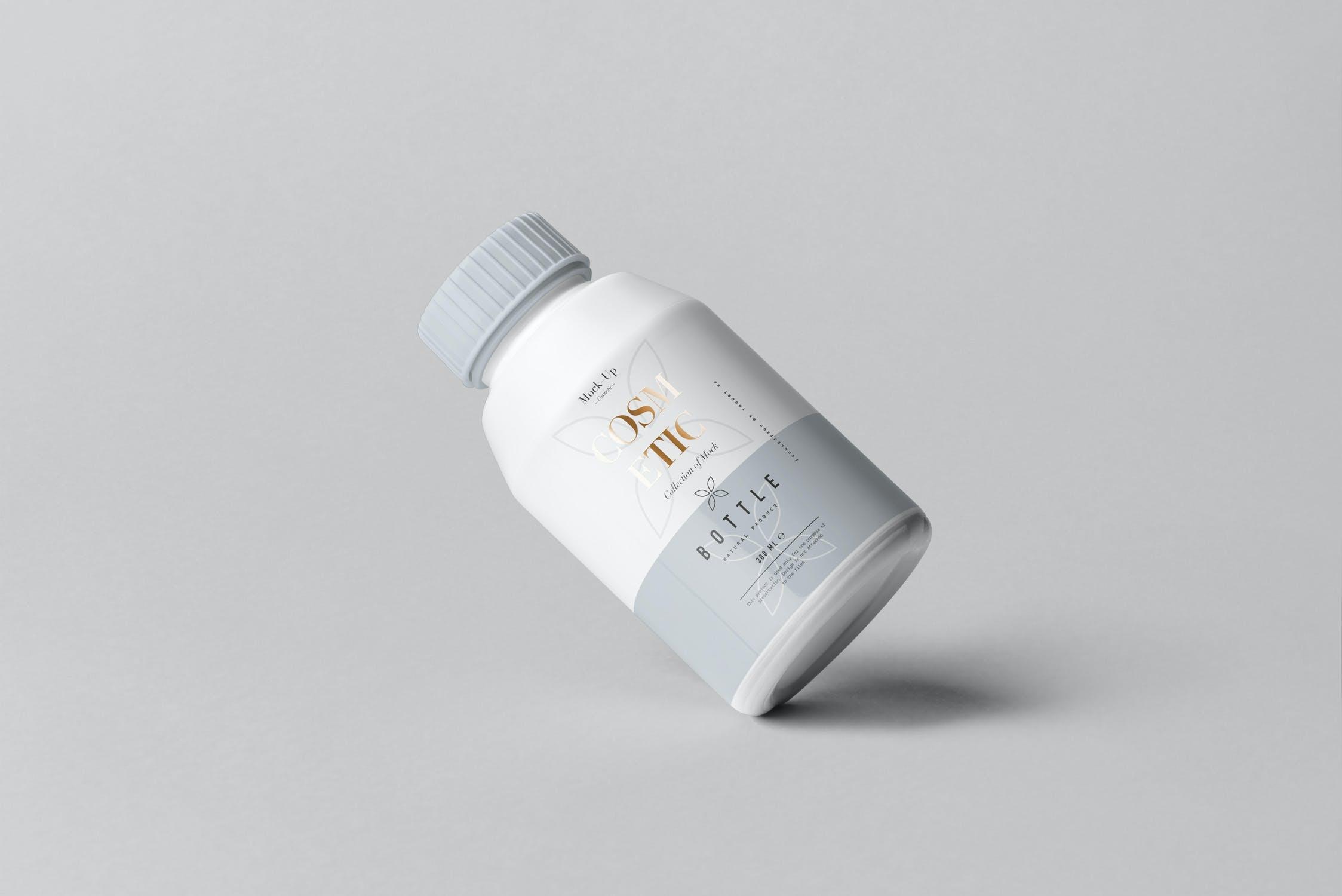 10款化妆品塑料包装罐设计展示样机PSD模板 Cosmetic Bottle Mockup 3插图(12)