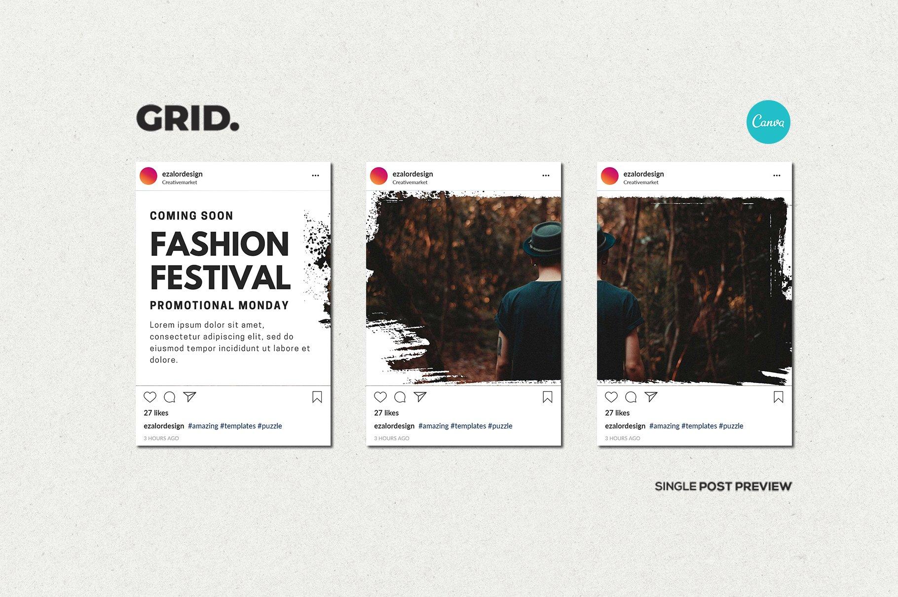 毛笔笔刷效果新媒体电商海报设计PSD模板 Agenda Insta Grid (Triple Posts)插图(12)