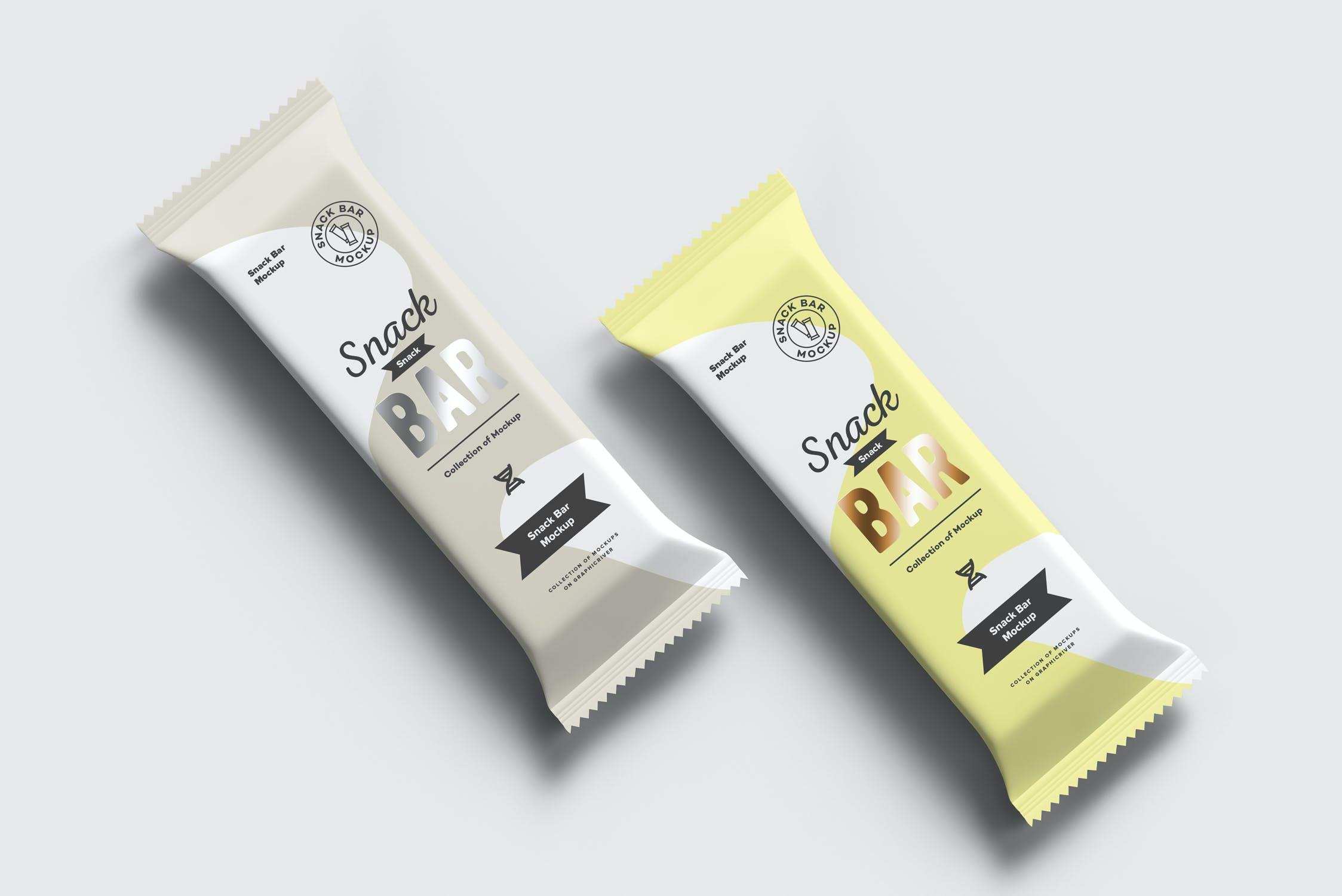 7款巧克力棒小零食塑料袋设计展示样机 Snack Bar Mockup插图(13)