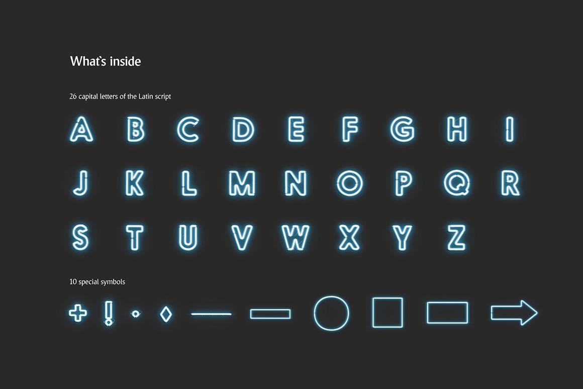 霓虹灯发光效果徽标大写字母设计展示动态样机模板 Animated Neon Font插图(1)