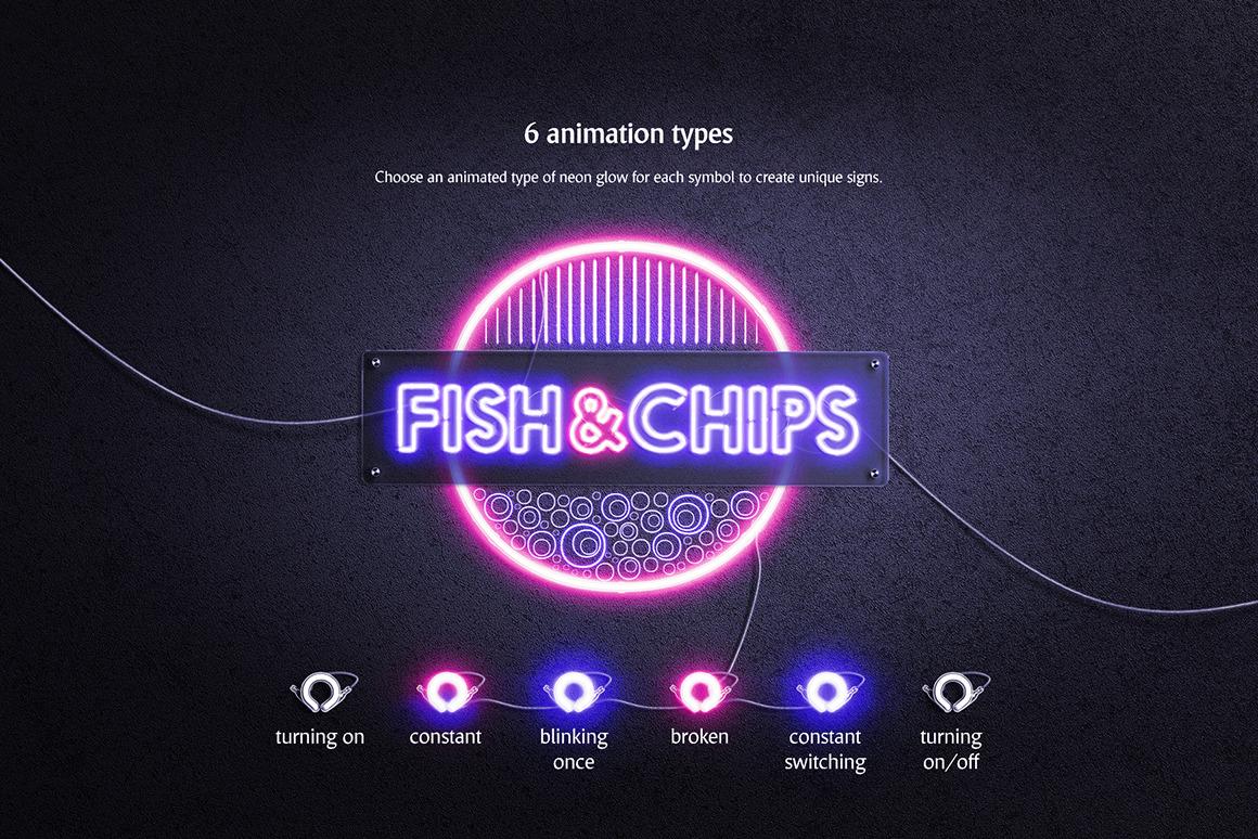 霓虹灯发光效果徽标大写字母设计展示动态样机模板 Animated Neon Font插图(2)
