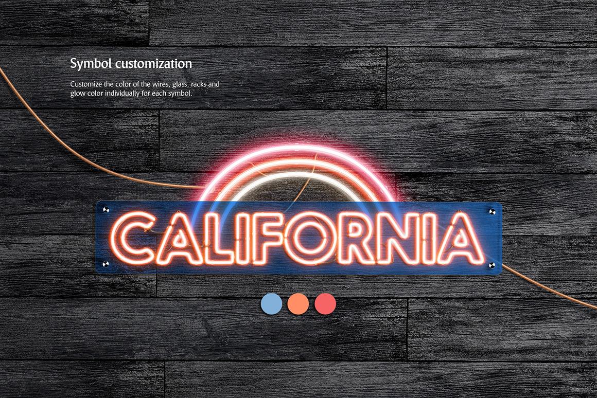 霓虹灯发光效果徽标大写字母设计展示动态样机模板 Animated Neon Font插图(4)
