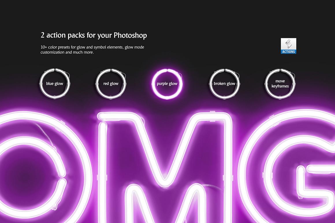 霓虹灯发光效果徽标大写字母设计展示动态样机模板 Animated Neon Font插图(6)