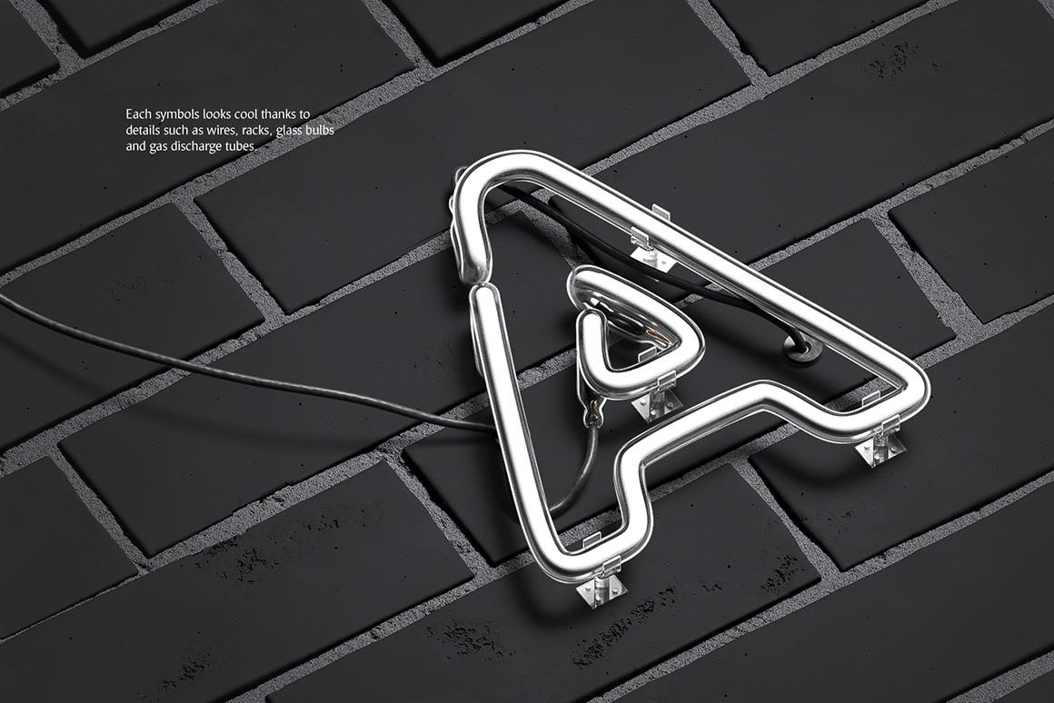 霓虹灯发光效果徽标大写字母设计展示动态样机模板 Animated Neon Font插图(7)
