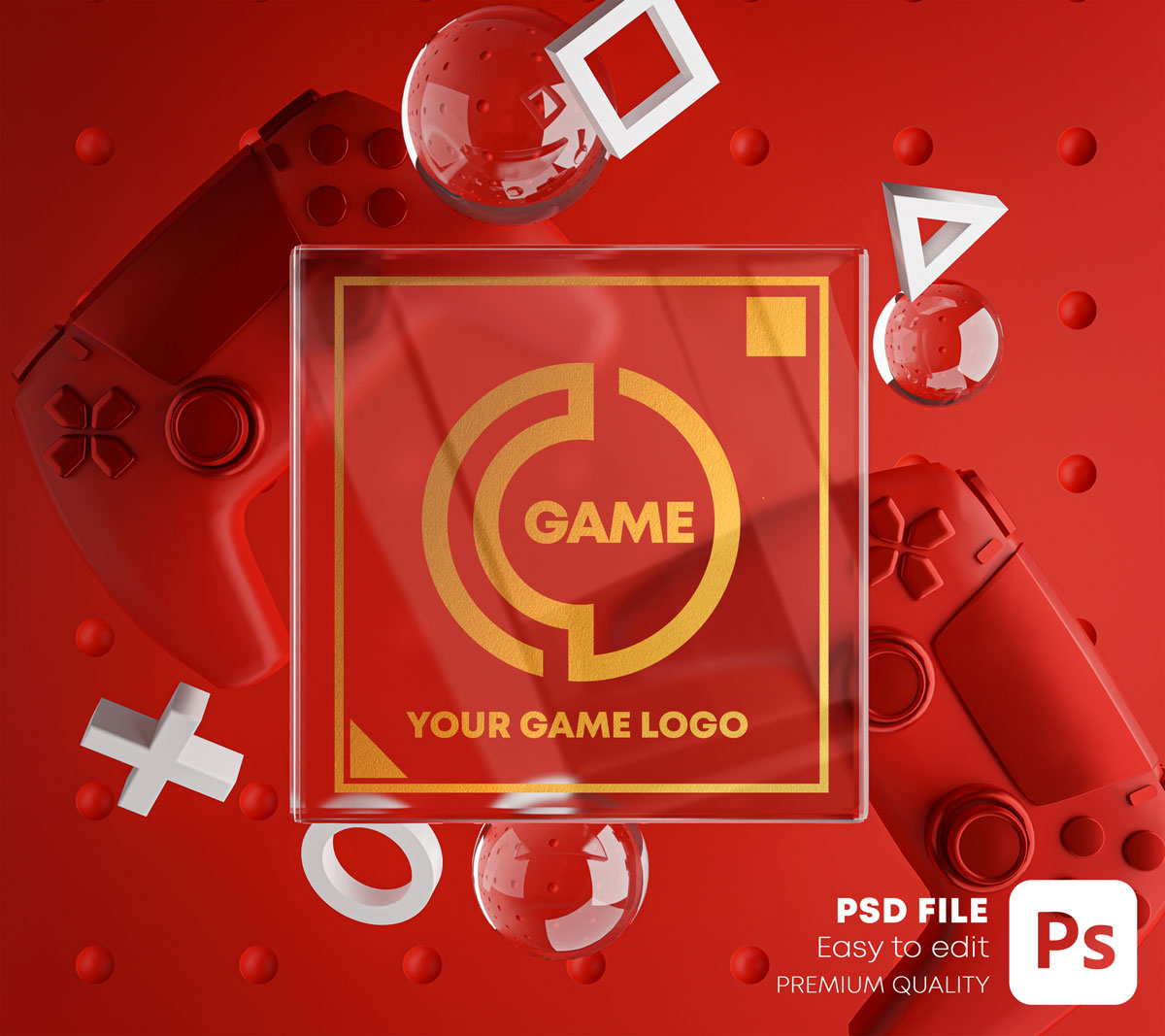 游戏场景玻璃效果徽标展示样机包 Gaming Glass Logo Mockup Gamepad Pack插图