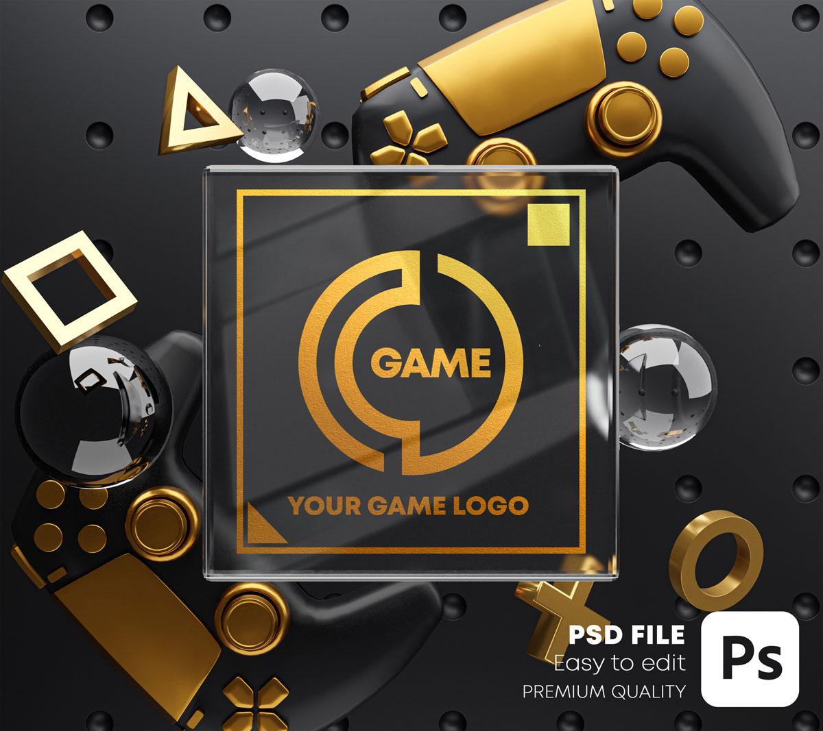游戏场景玻璃效果徽标展示样机包 Gaming Glass Logo Mockup Gamepad Pack插图(1)