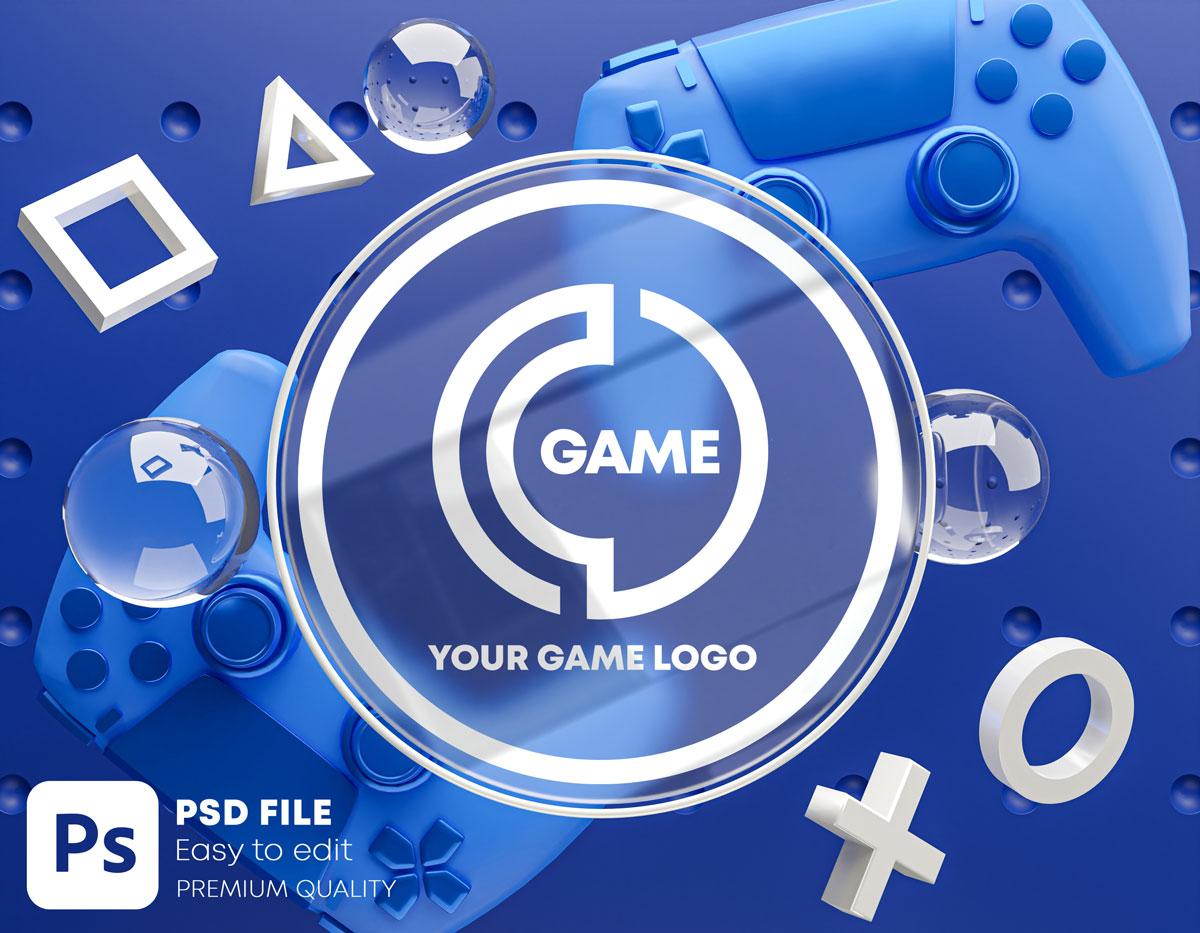 游戏场景玻璃效果徽标展示样机包 Gaming Glass Logo Mockup Gamepad Pack插图(2)