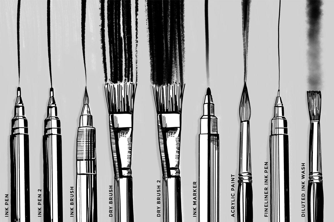 12款油漆水墨绘画效果Procreate笔刷 Ink And Paint Procreate Brushes插图(2)