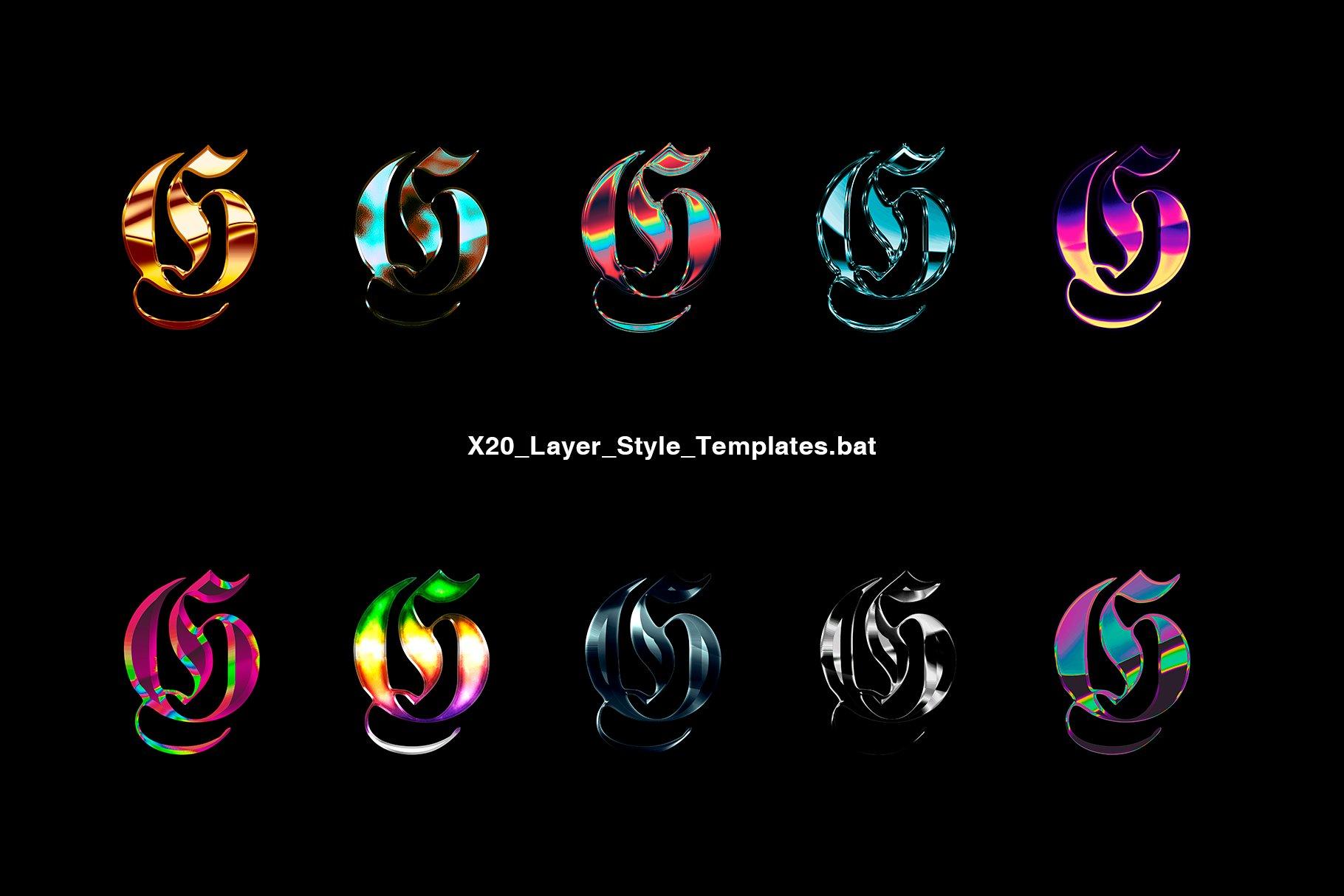 [淘宝购买] 20款金属渐变效果平面广告海报标题字体设计PS样式模板 Chrome Layer Style Pack插图(1)
