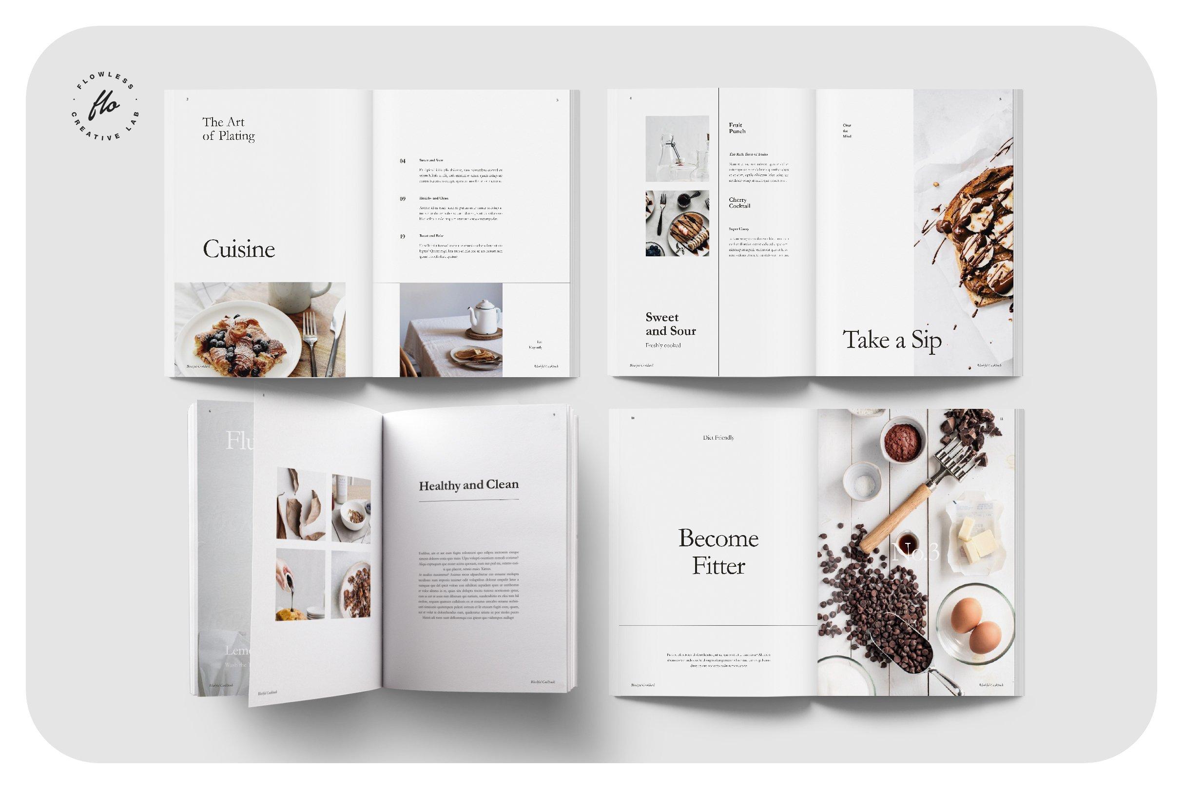 简约食谱菜单图文排版设计INDD画册模板 BLUSHFUL Editorial Cookbook插图(1)
