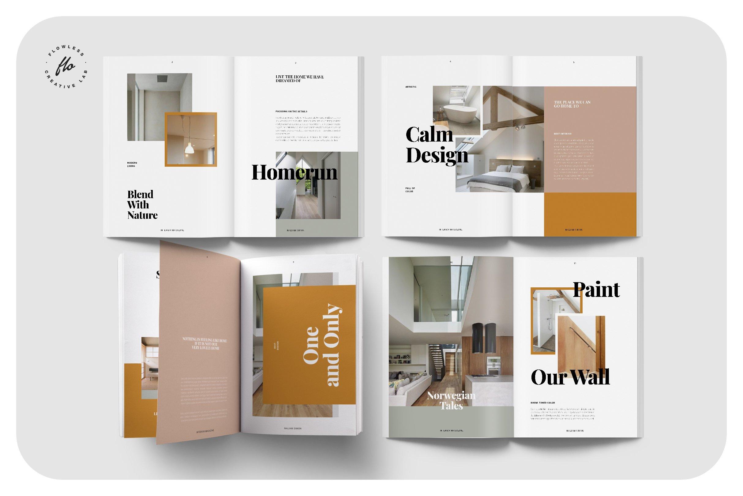 优雅室内设计作品集杂志画册INDD模板 ELEGANCE Interior Magazine插图(1)