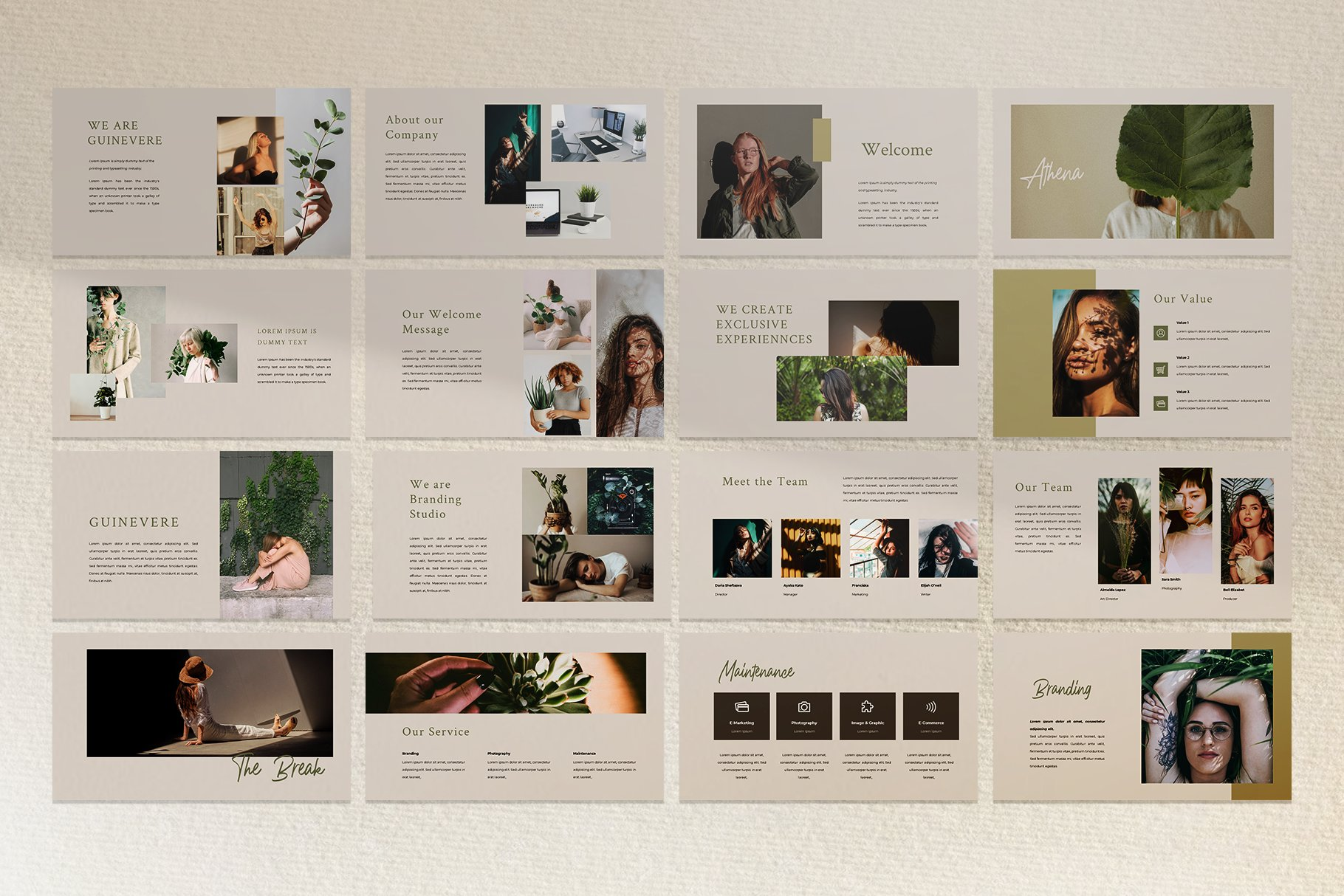 时尚品牌摄影作品集营销PPT幻灯片设计模板 Guinevere Presentation Template插图(2)