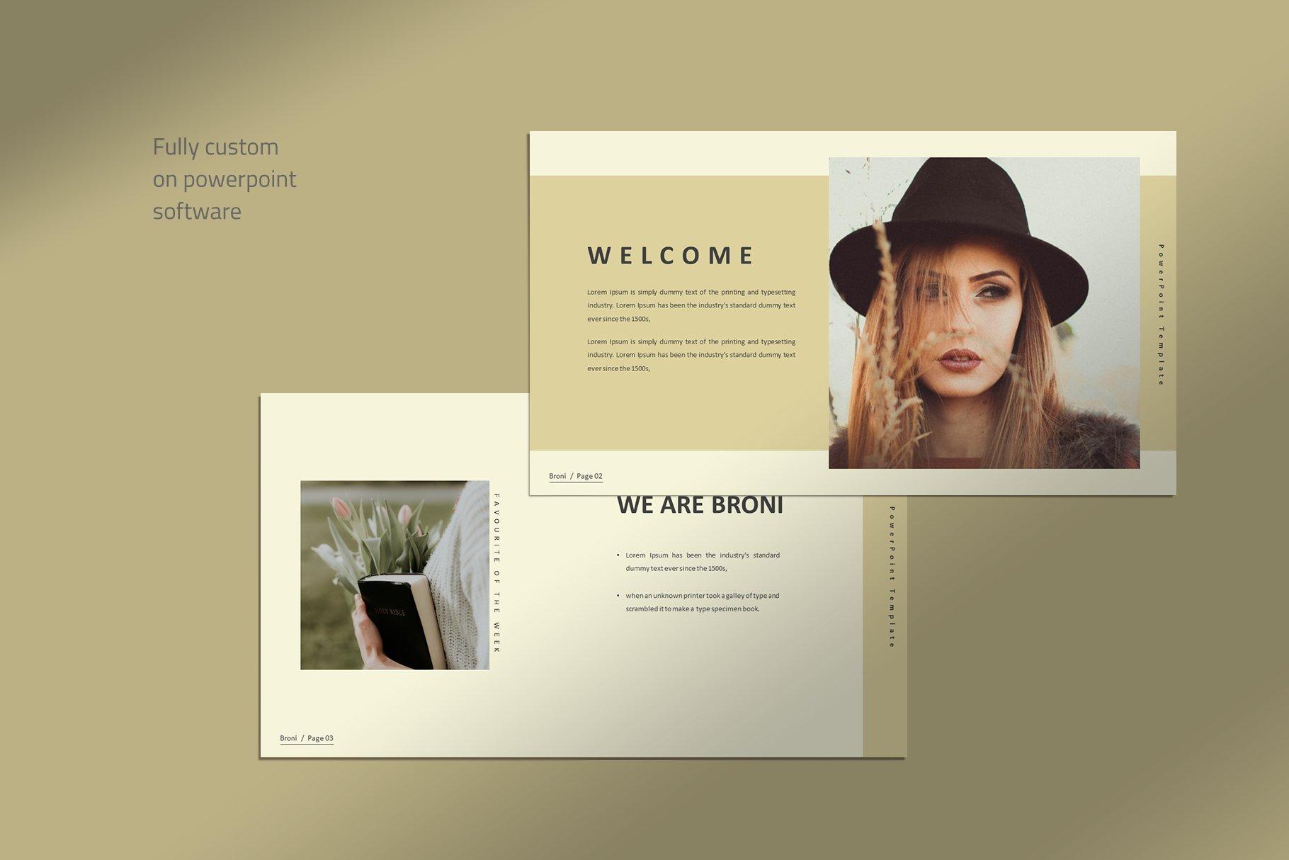 简洁服装摄影作品集图文排版设计PPT幻灯片模板 Broni – Minimalist Presentation插图(1)