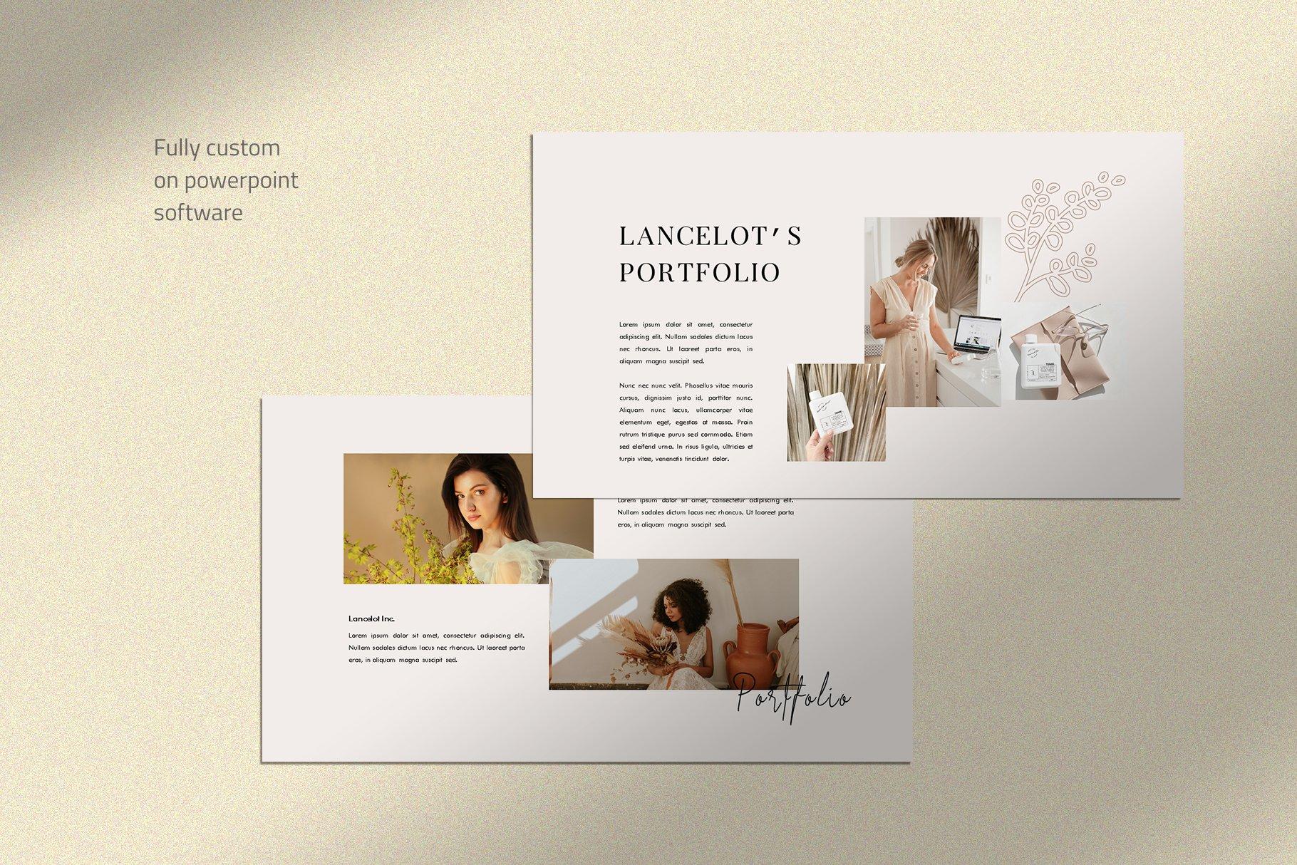 时尚简约女性服装摄影作品集PPT幻灯片模板 Lancelot Presentation Template插图(1)