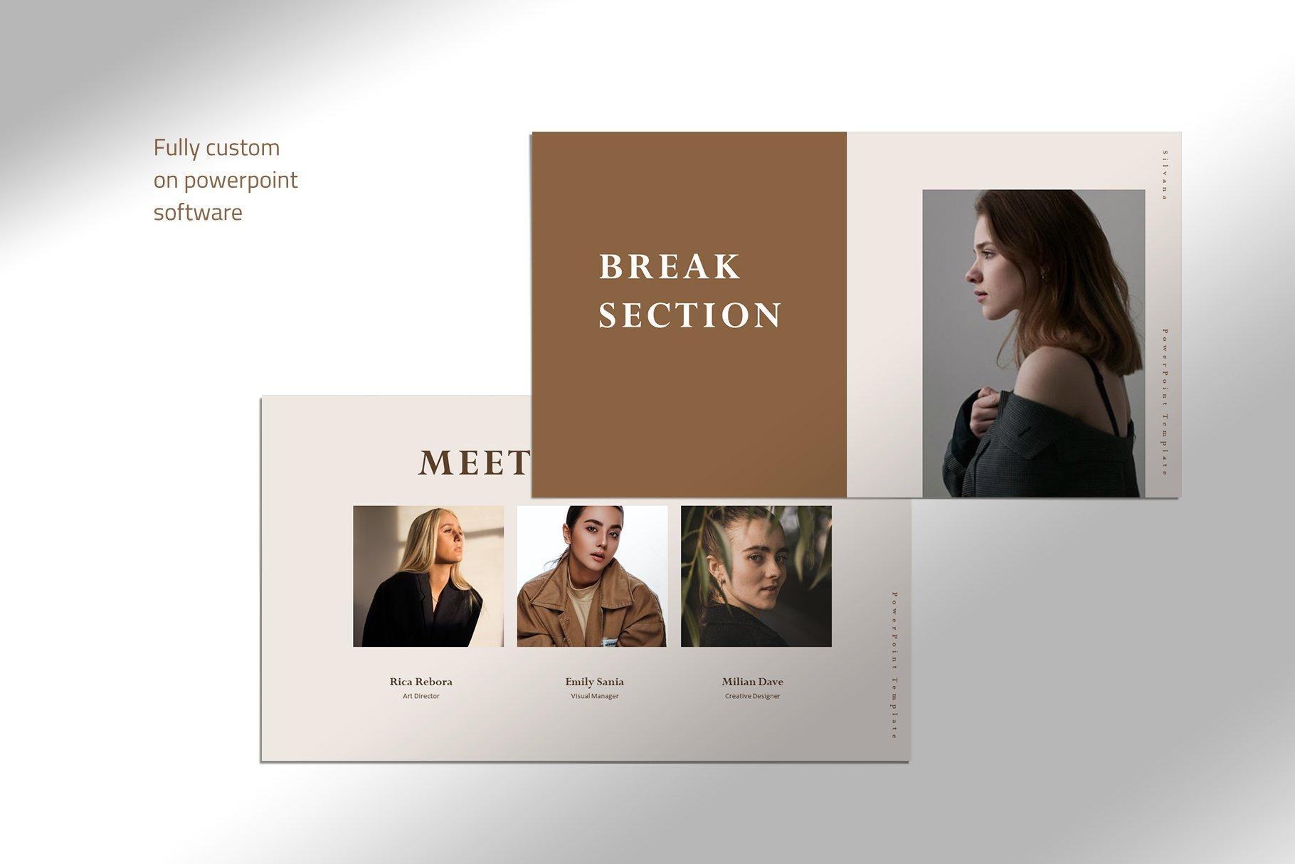 极简女性服装摄影作品集图文排版PPT幻灯片设计模板 Silvana – Presentation Template插图(1)
