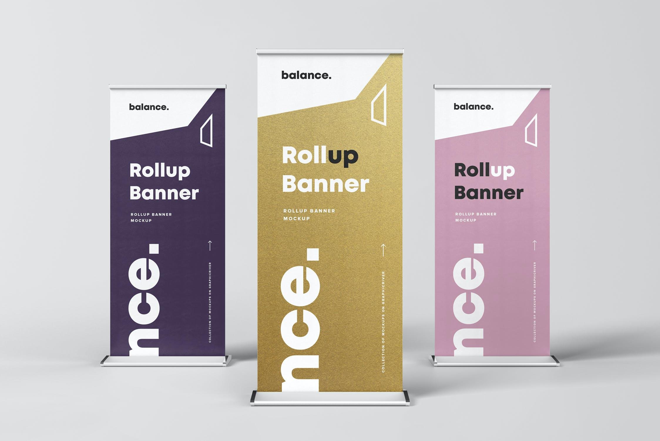 7款自立式易拉宝展架横幅海报设计展示样机模板 Roll Up Banner Mockup插图(1)