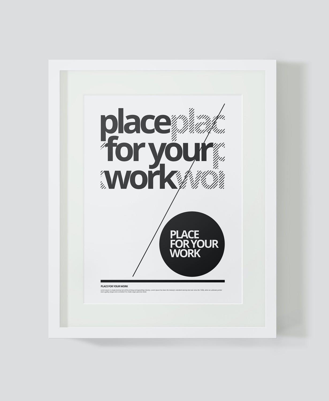 时尚绘画艺术品海报照片展示相框样机PSD模板 Frame For Your Work插图(1)