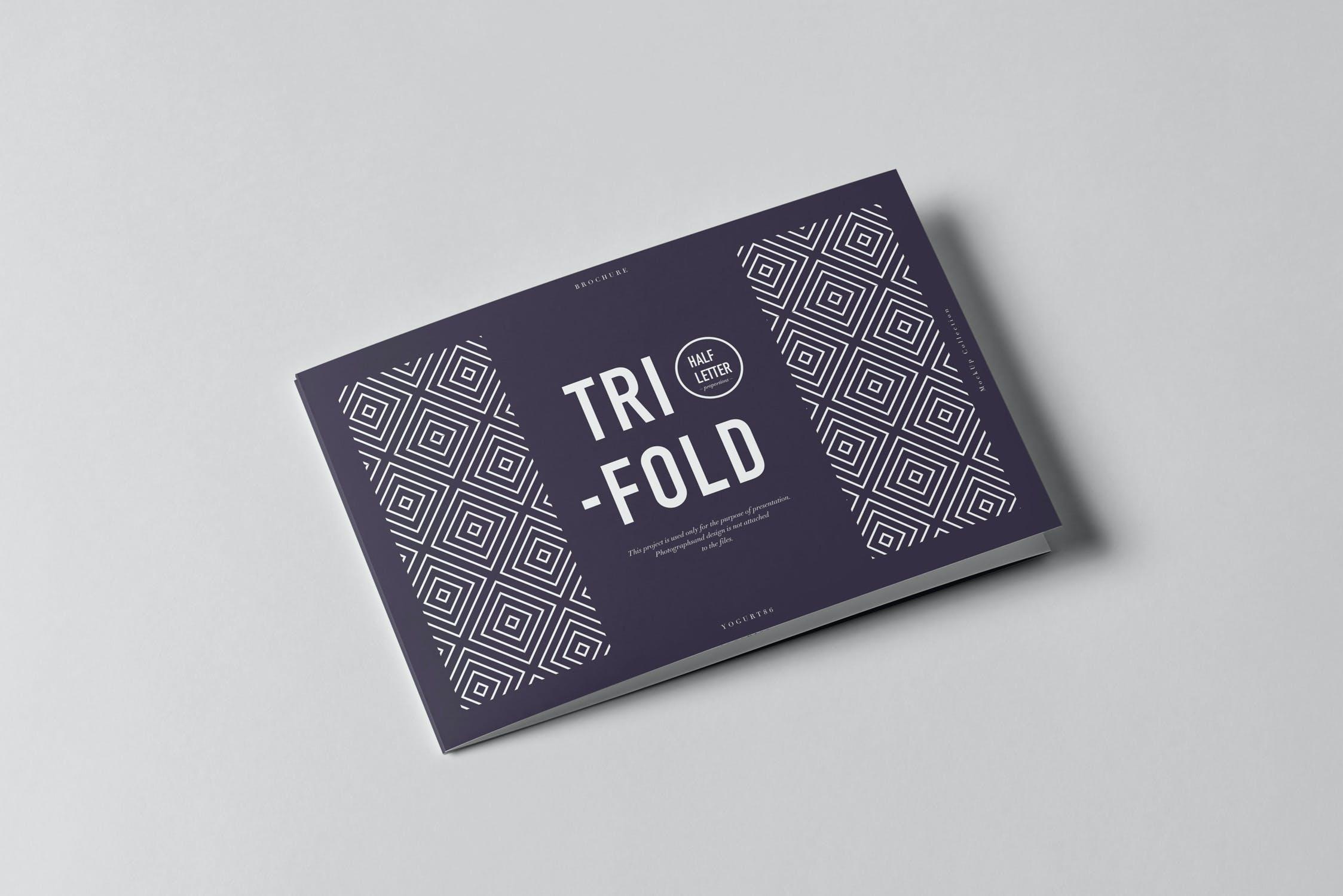 9款横版三折页小册子设计展示样机模板 Tri-Fold Half Letter Horizontal Brochure Mockup插图(1)