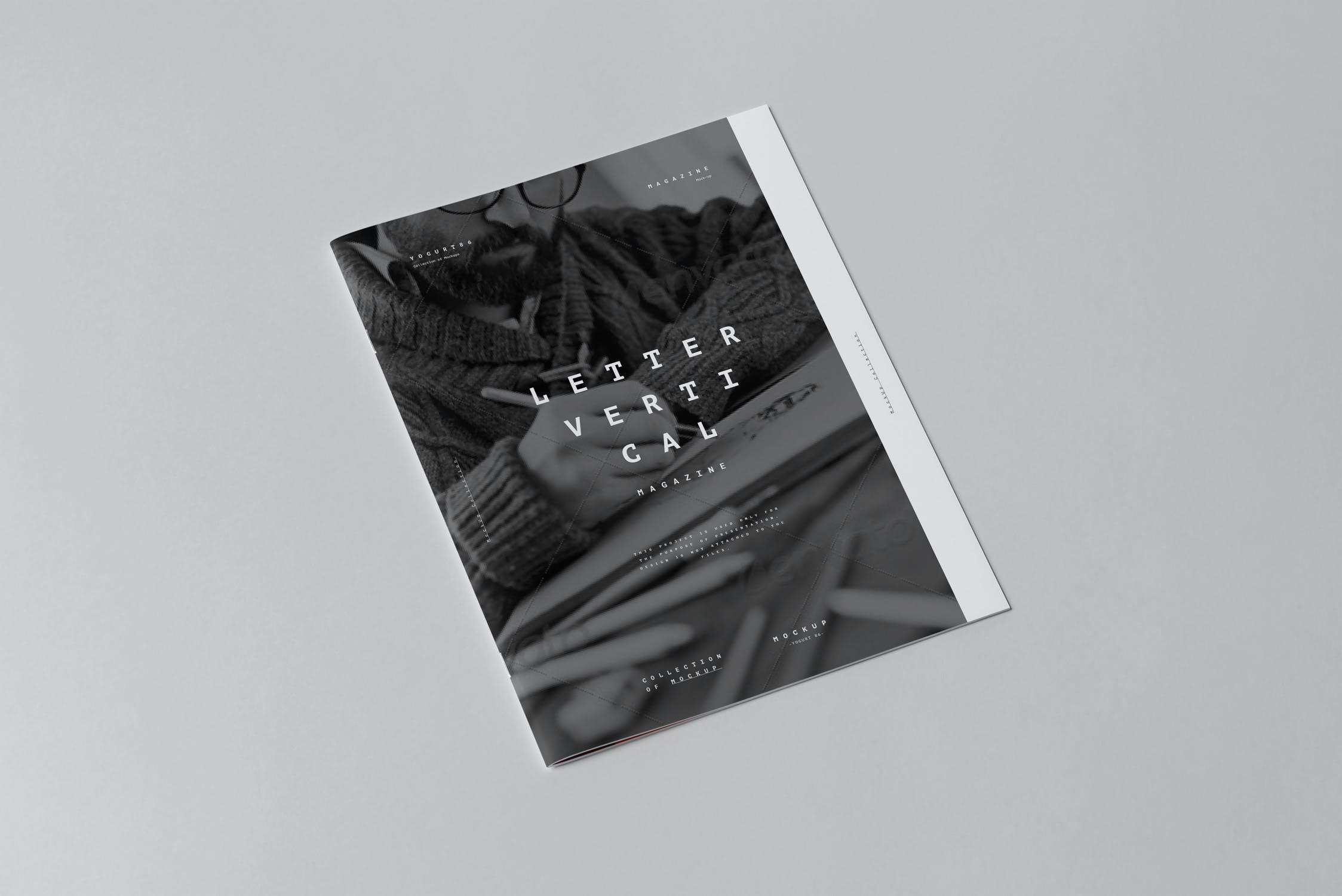 10款骑马钉宣传画册杂志设计展示样机模板 US Letter Brochure Mockup 3插图(1)