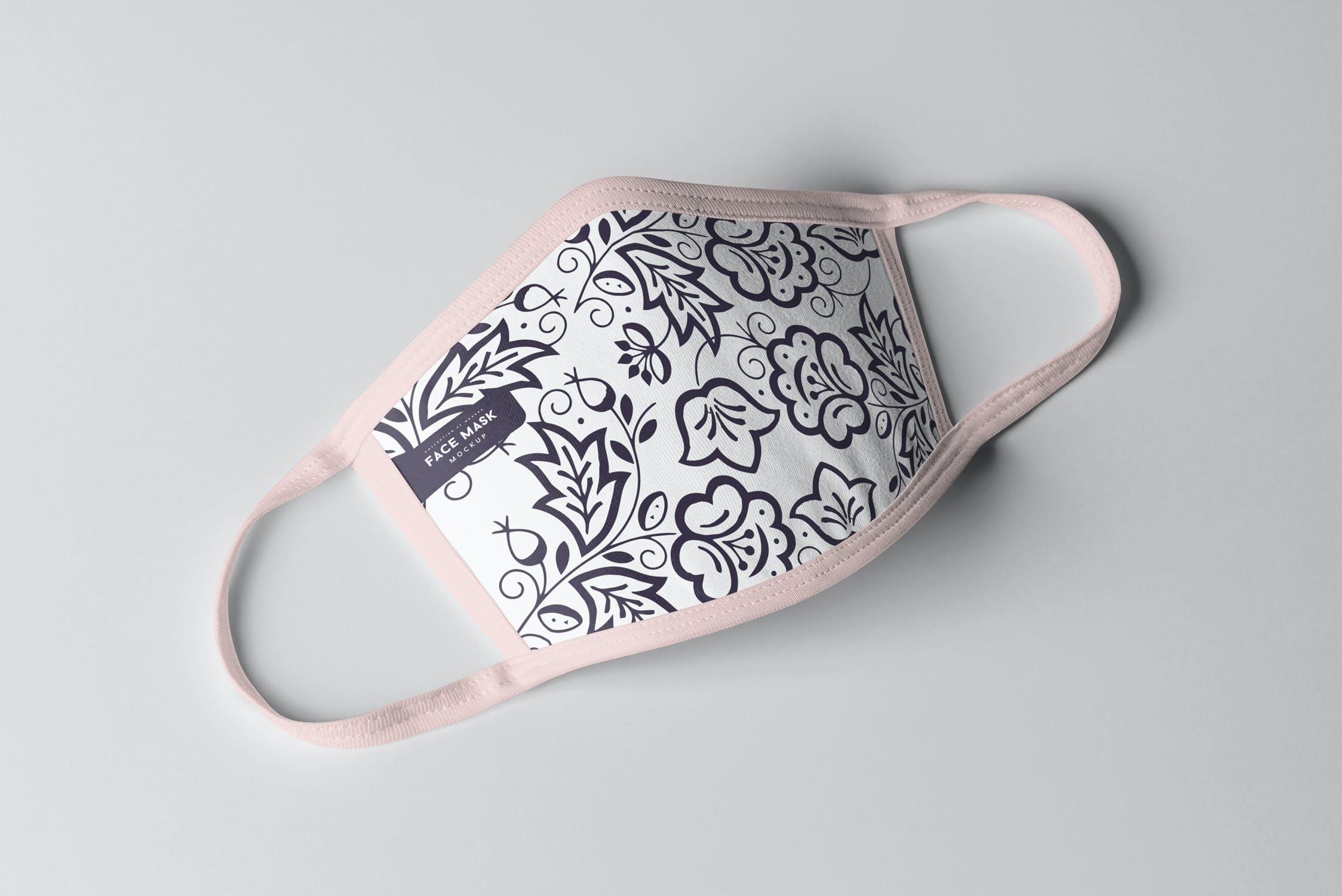 8款防护面罩口罩印花设计展示样机PSD模板 Face Mask Mockup插图(1)