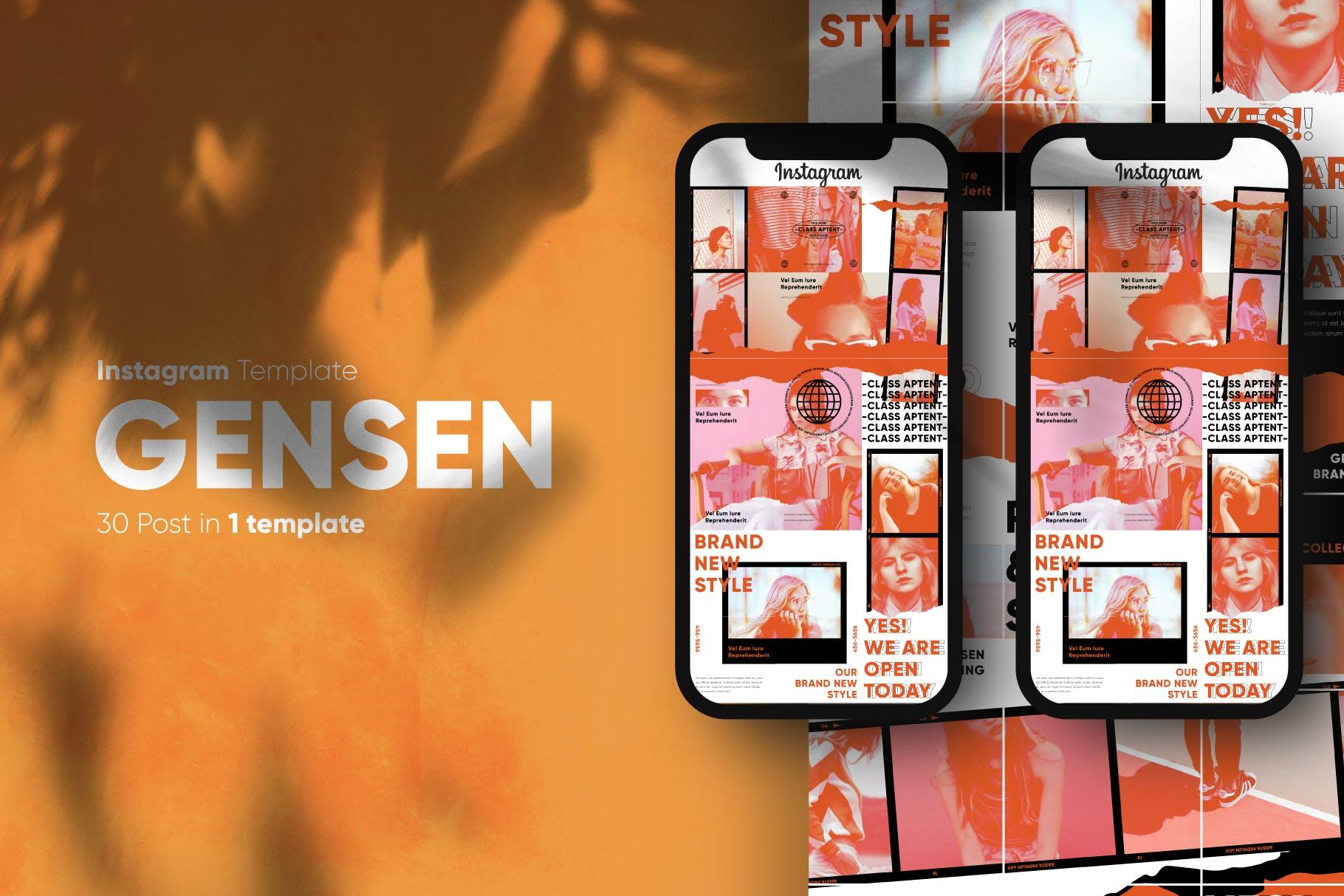 现代拼图效果新媒体推广电商海报设计模板 Gensen – Instagram Puzzle Template插图(1)