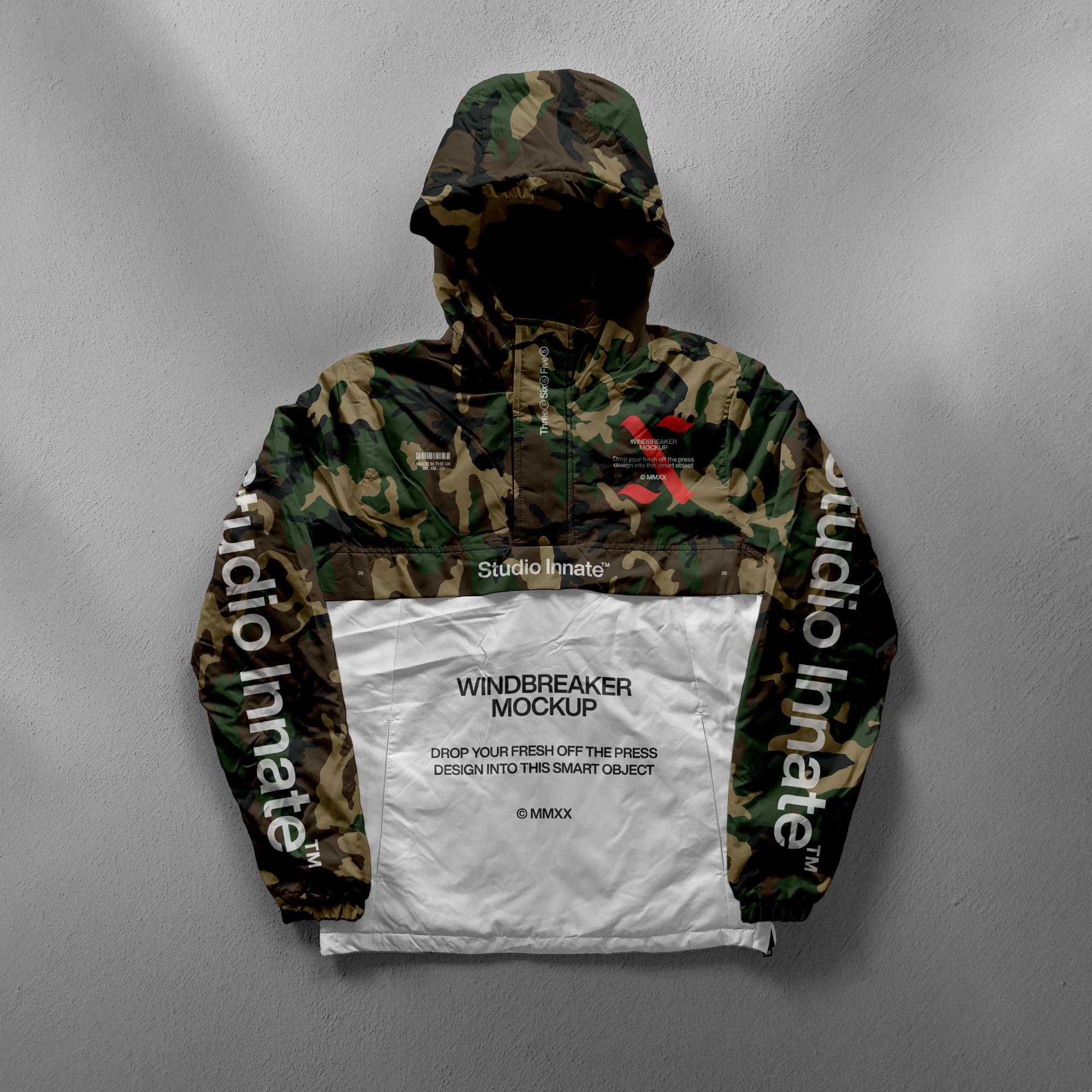 带帽风衣羽绒服设计展示样机模板合集 Windbreaker Jacket Mockup Bundle插图