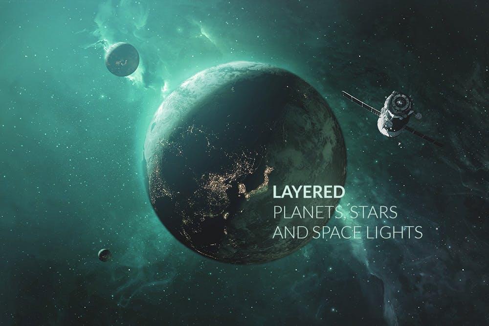 行星太空场景文字标题展示样机模板 Outer Space Planetary Template插图(1)