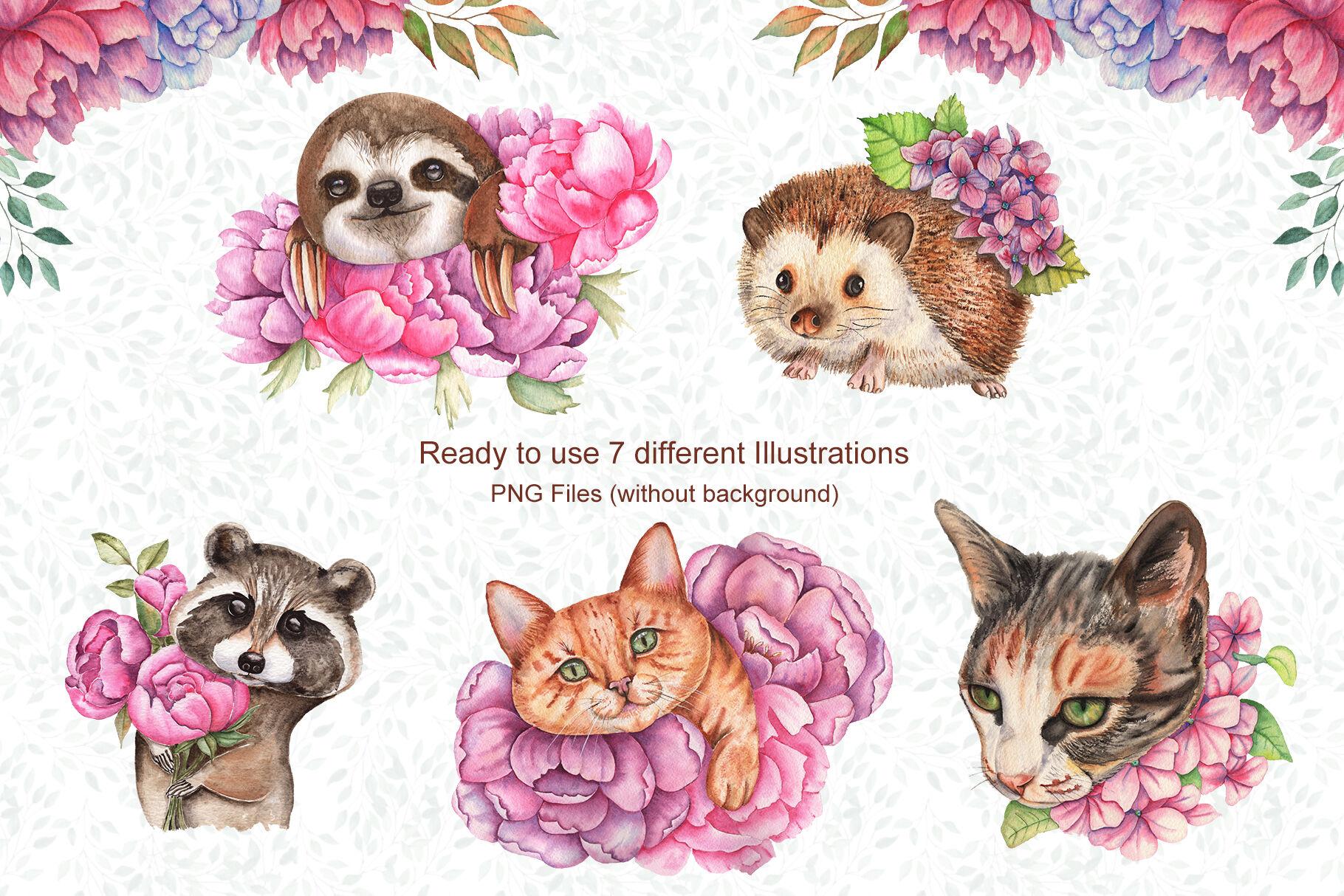 高清手绘花卉和动物水彩画图片集 Watercolor Flowers and Animals Set插图