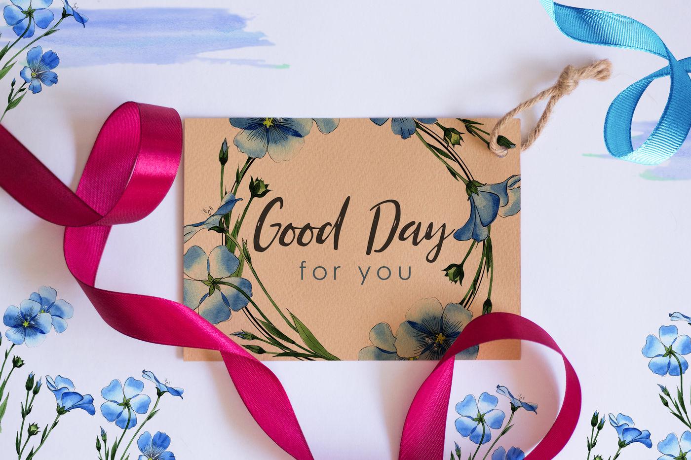 高清亚麻蓝色花卉水彩剪贴画PNG透明图片水彩 Flax Blue Watercolor PNG插图(1)